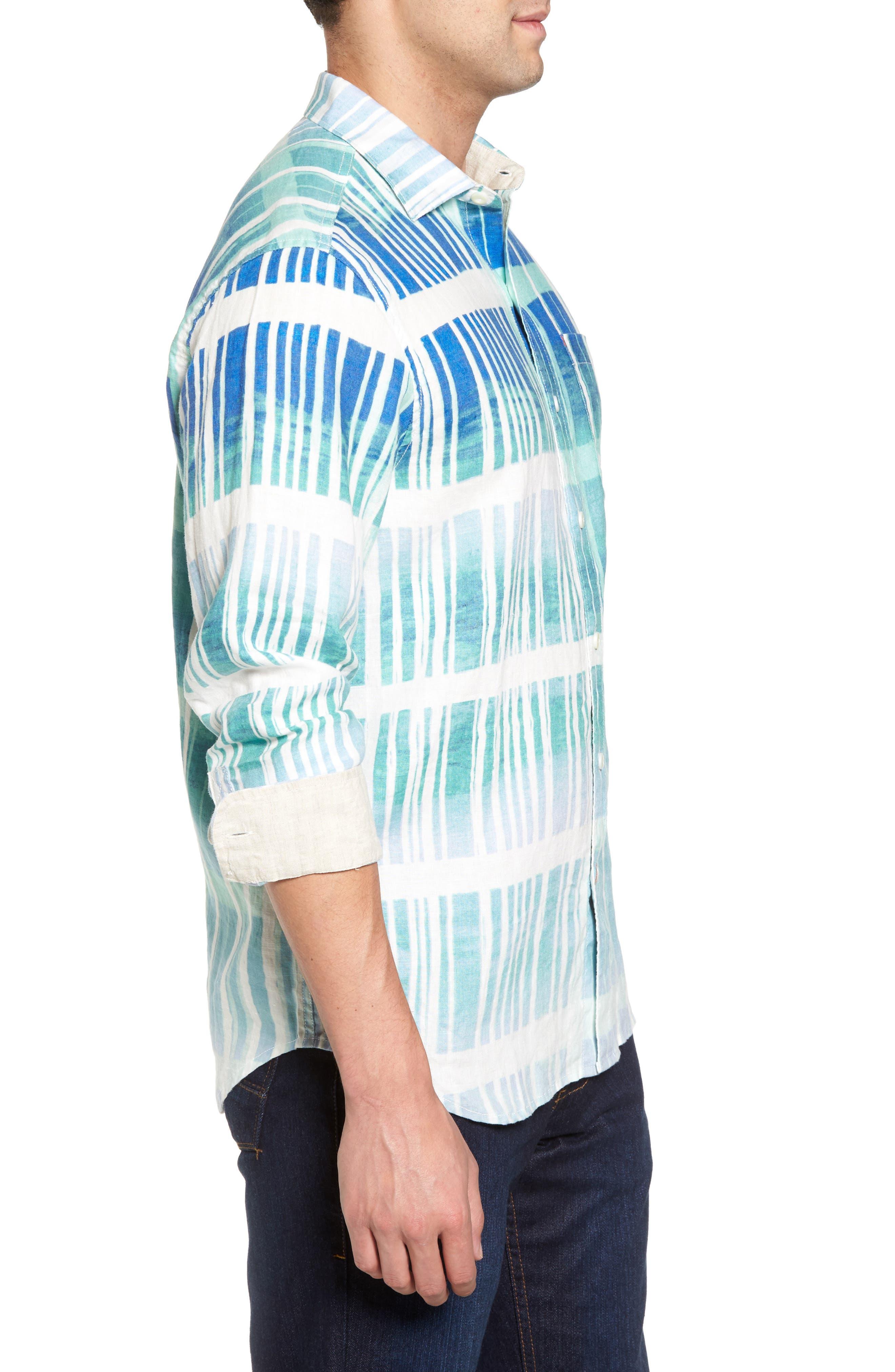 Okeechobee Ombré Breezer Sport Shirt,                             Alternate thumbnail 3, color,                             Santorini Blue
