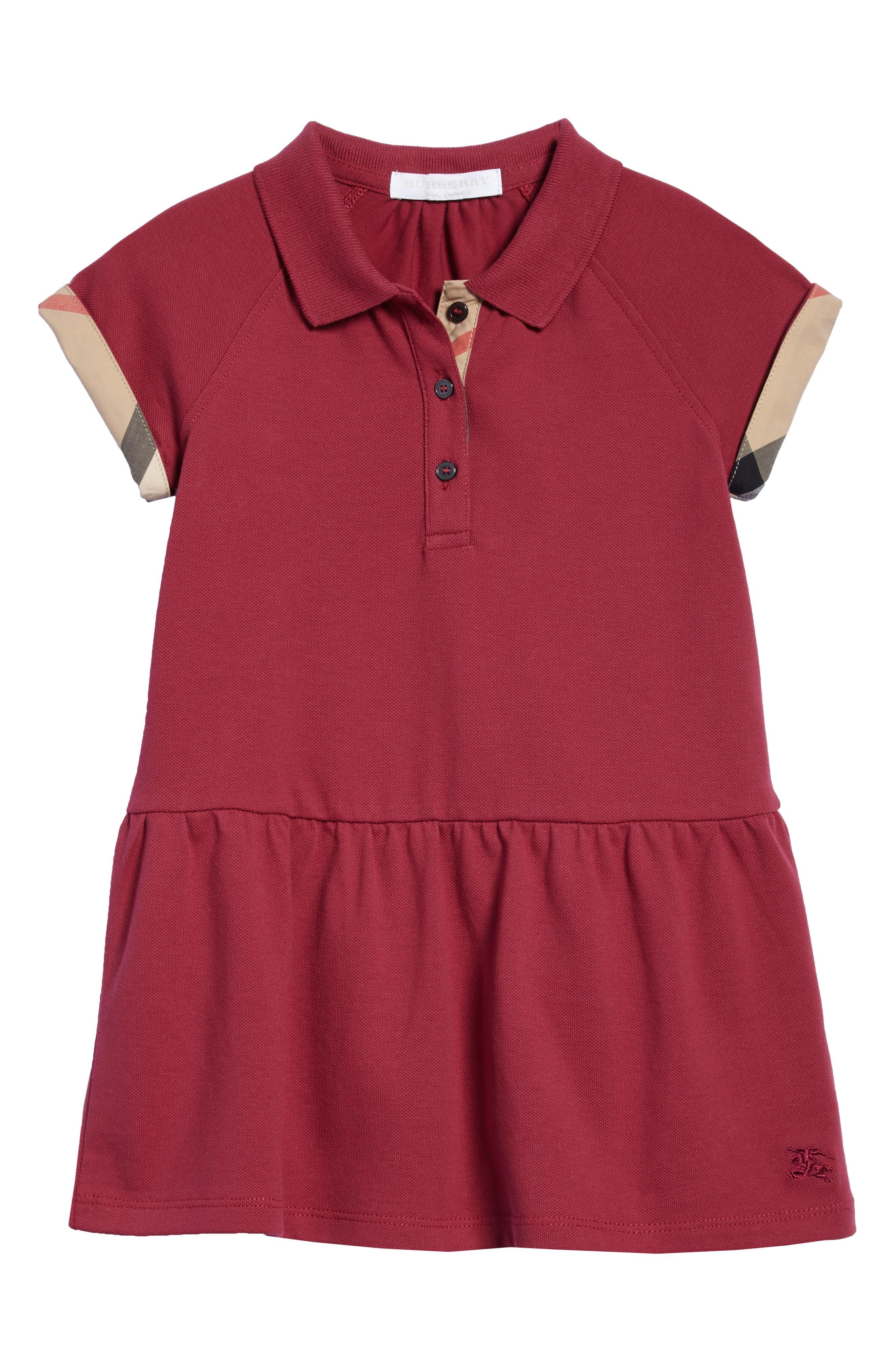 Mini Cali Polo Dress,                             Main thumbnail 1, color,                             Garnet Pink