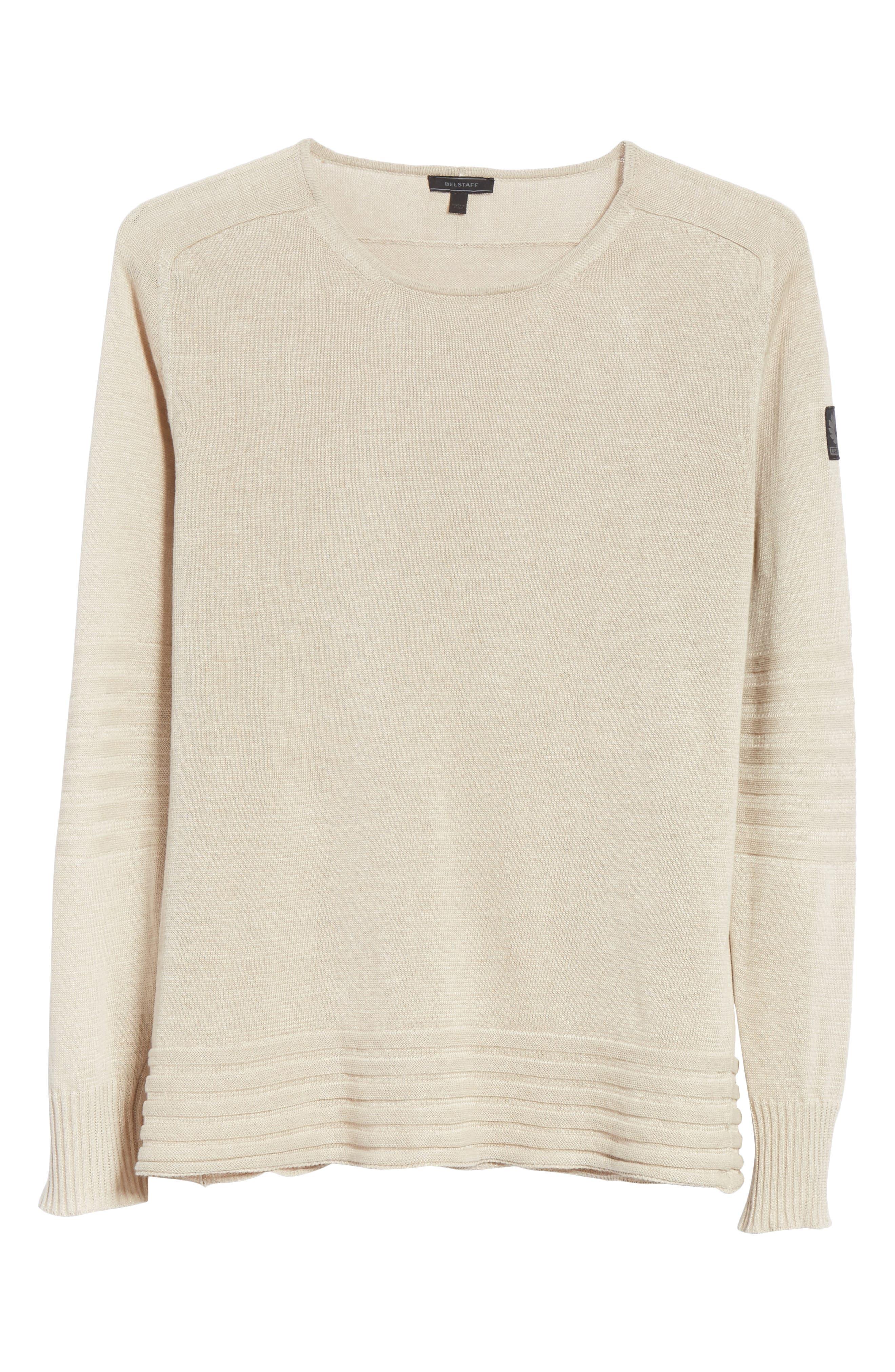 Exford Linen Crewneck Sweater,                             Alternate thumbnail 6, color,                             Light Sand