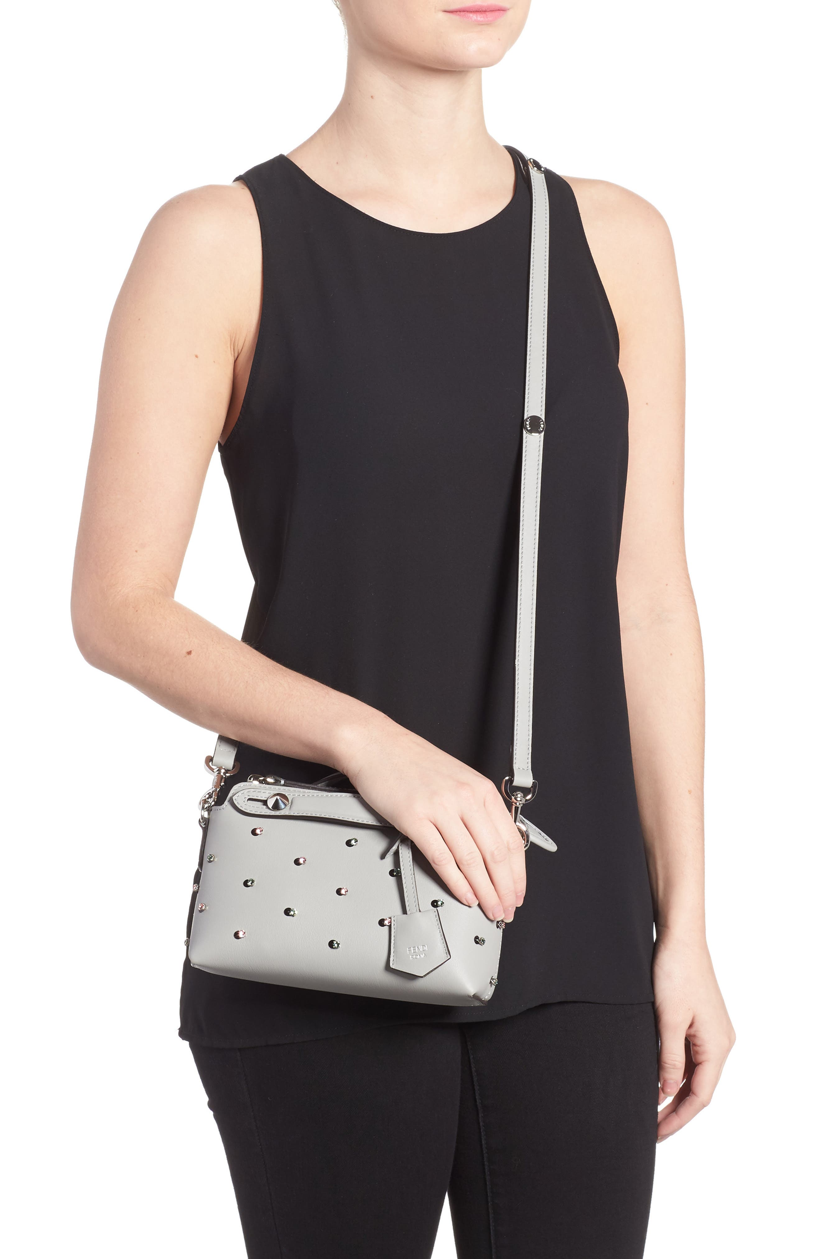 Alternate Image 2  - Fendi Mini By the Way Crystal Embellished Convertible Leather Crossbody Bag