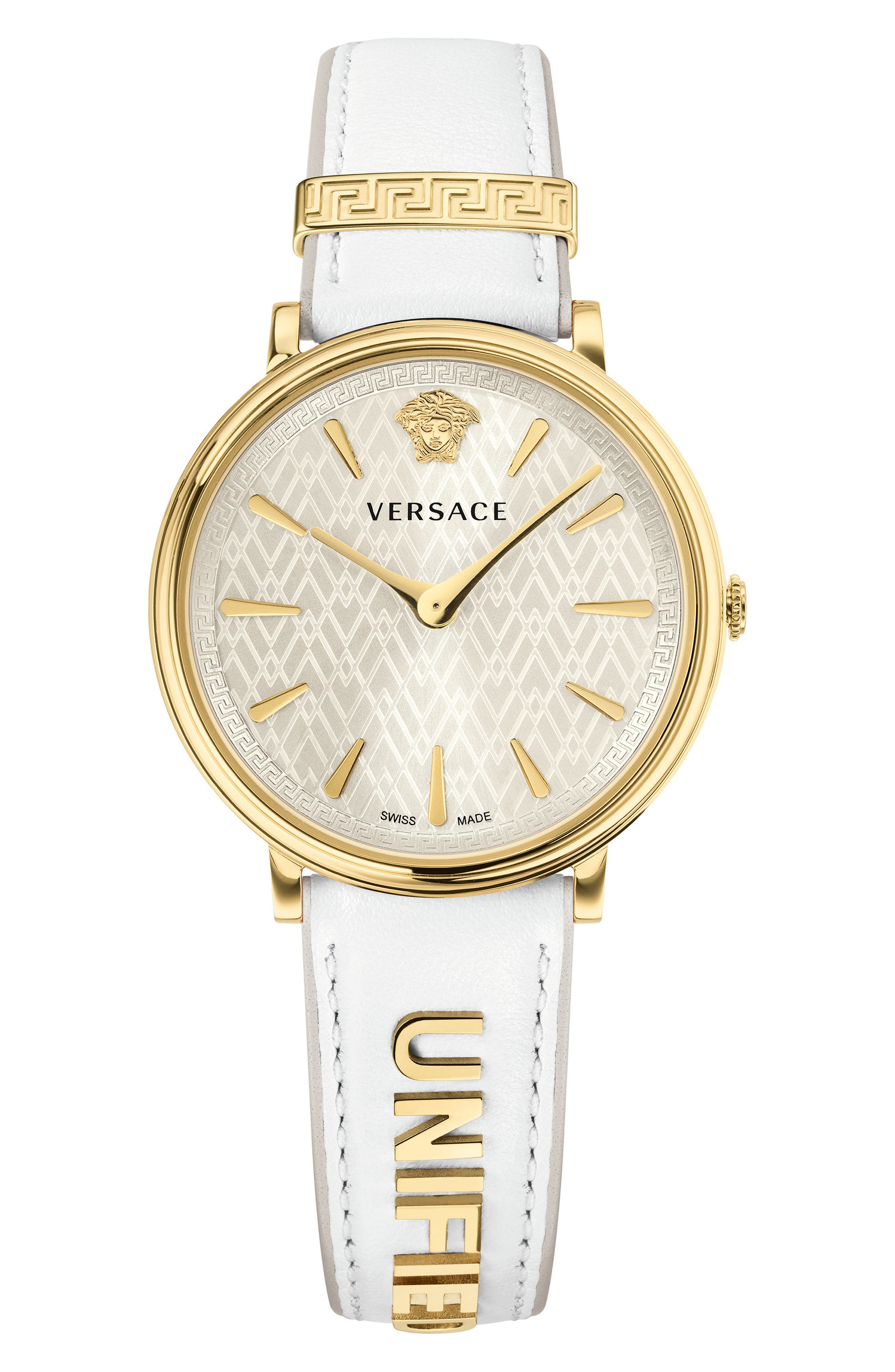 Manifesto Leather Strap Watch, 38mm,                         Main,                         color, White/ Gold