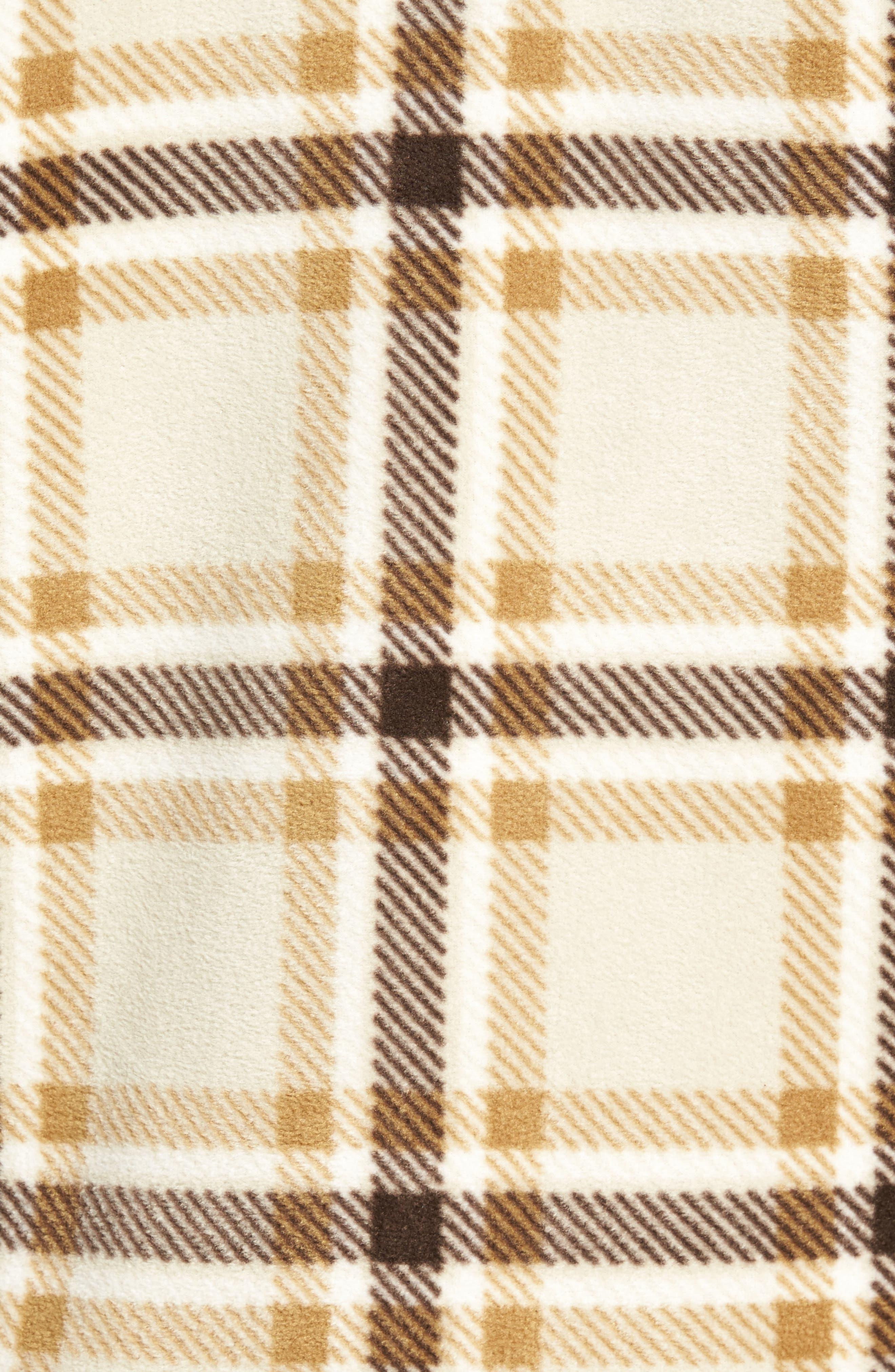 Glacier Heat Dome Plaid Fleece Shirt,                             Alternate thumbnail 5, color,                             Stone
