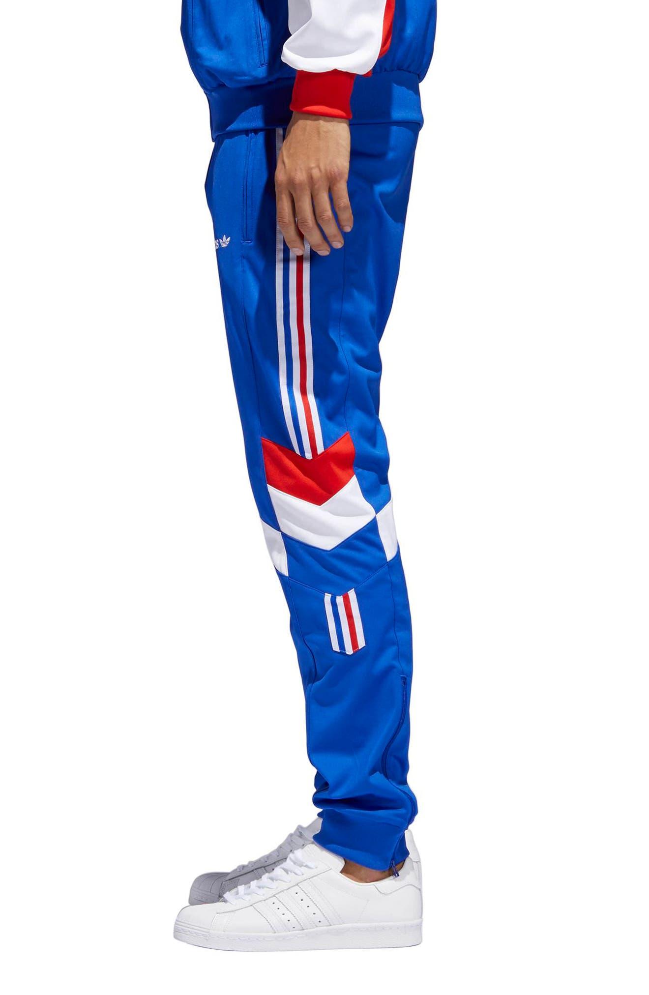 Aloxe Slim Track Pants,                             Alternate thumbnail 3, color,                             Bold Blue/ White