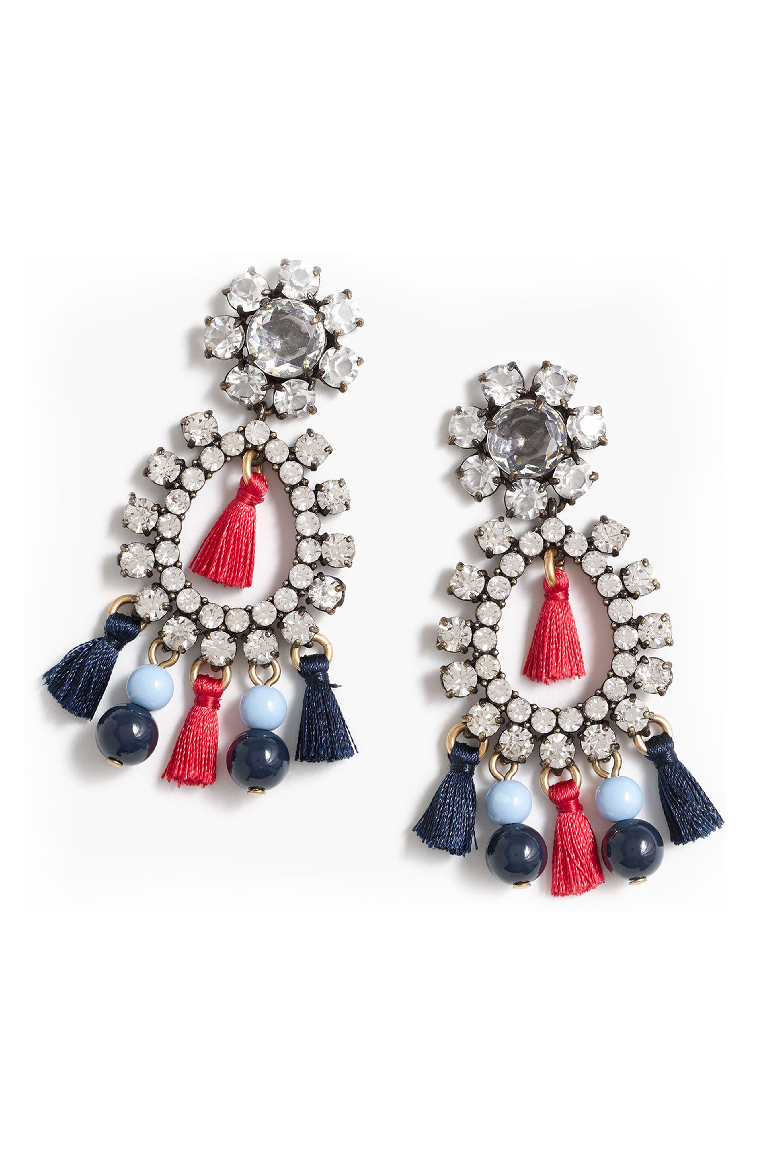 Crystal & Tassel Earrings,                         Main,                         color, Crystal