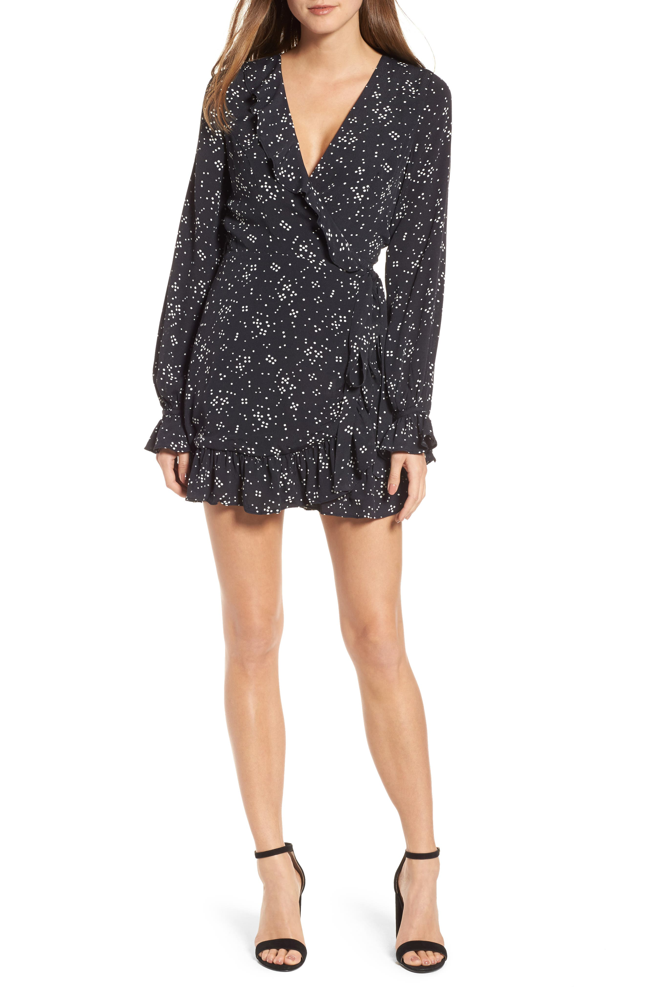 Cane Wrap Minidress,                         Main,                         color, Night Sky Dot