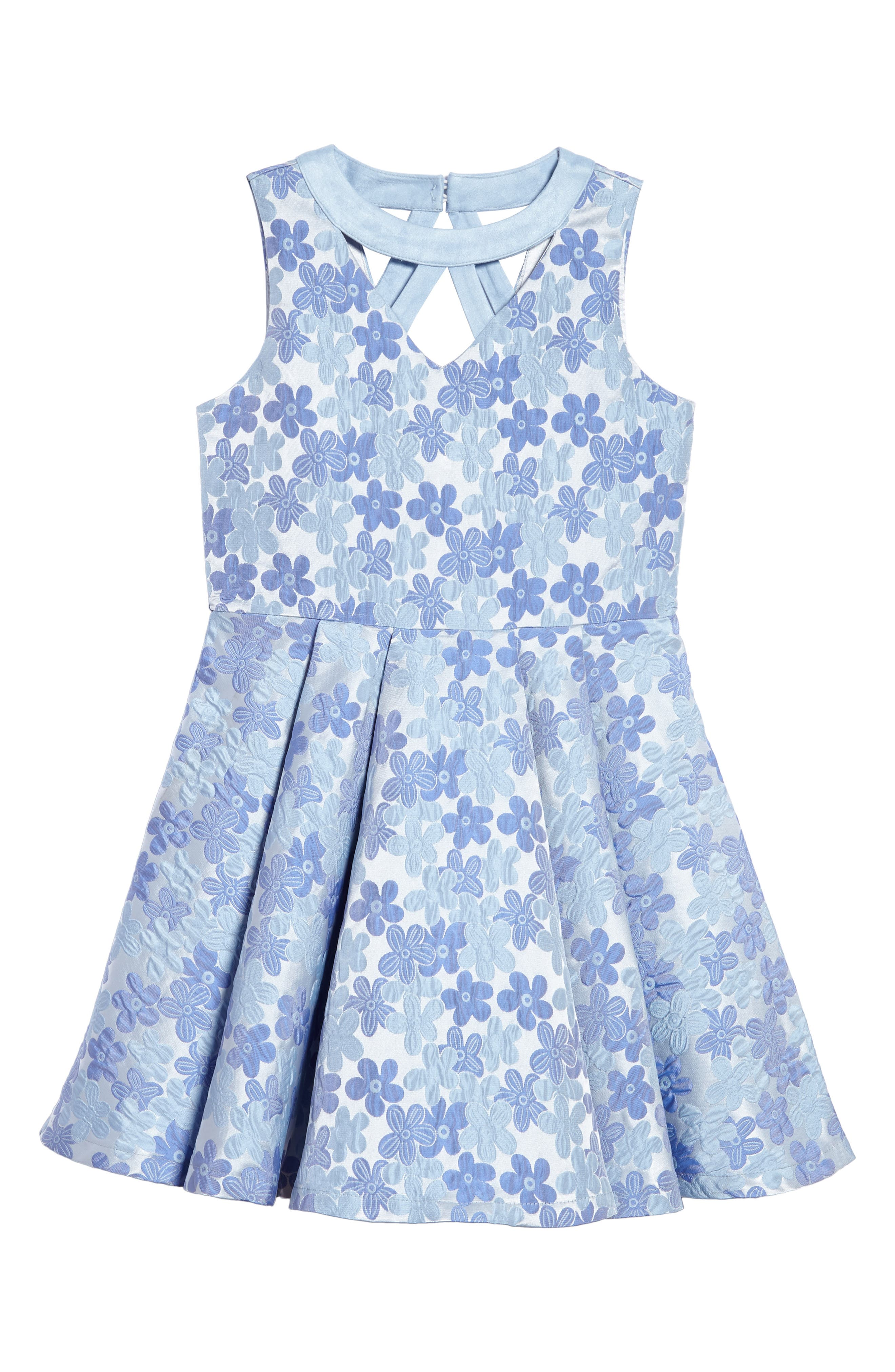 Daisy Brocade Fit & Flare Dress,                             Main thumbnail 1, color,                             Periwinkle