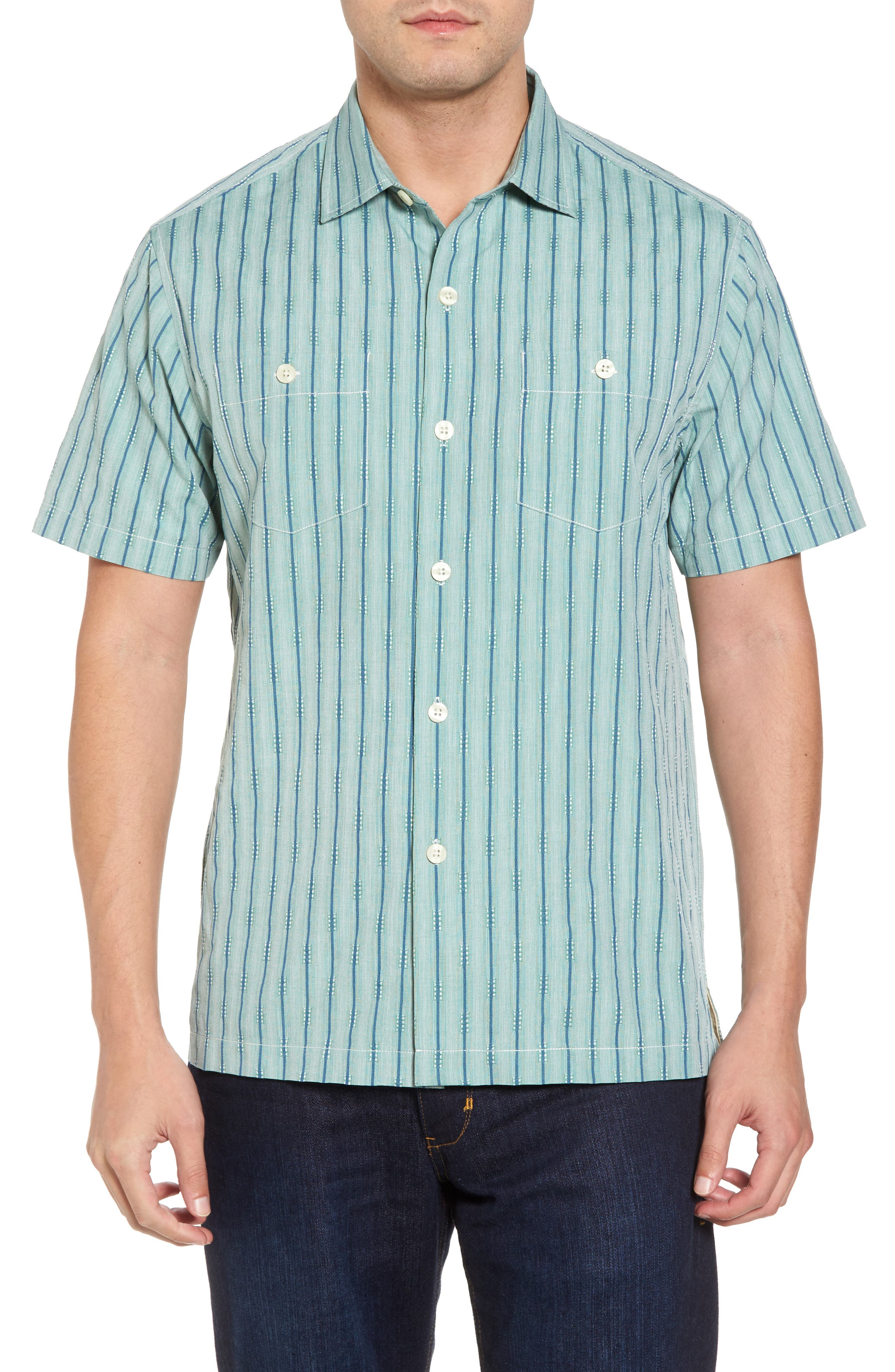 Florida Geometric Line Silk Blend Camp Shirt,                             Main thumbnail 1, color,                             Deep Grass Green