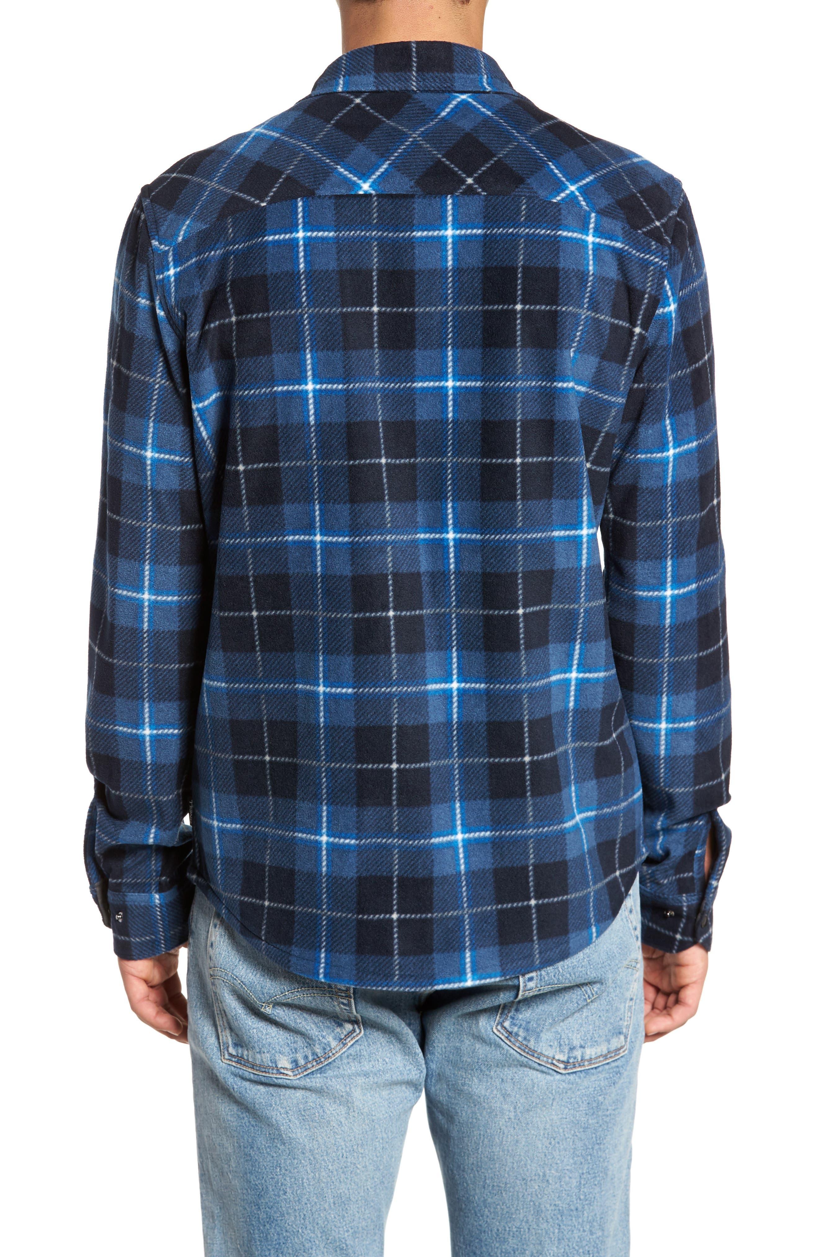 Glacier Plaid Fleece Flannel Shirt,                             Alternate thumbnail 2, color,                             Ocean