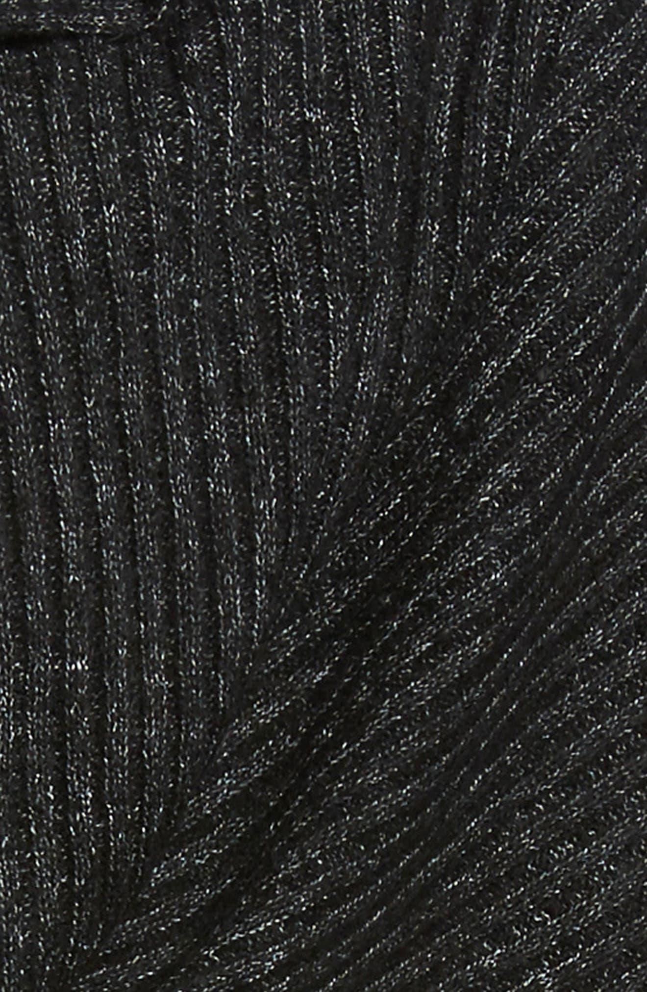 Bottom Line Hooded Rib Knit Wrap,                             Alternate thumbnail 4, color,                             Black
