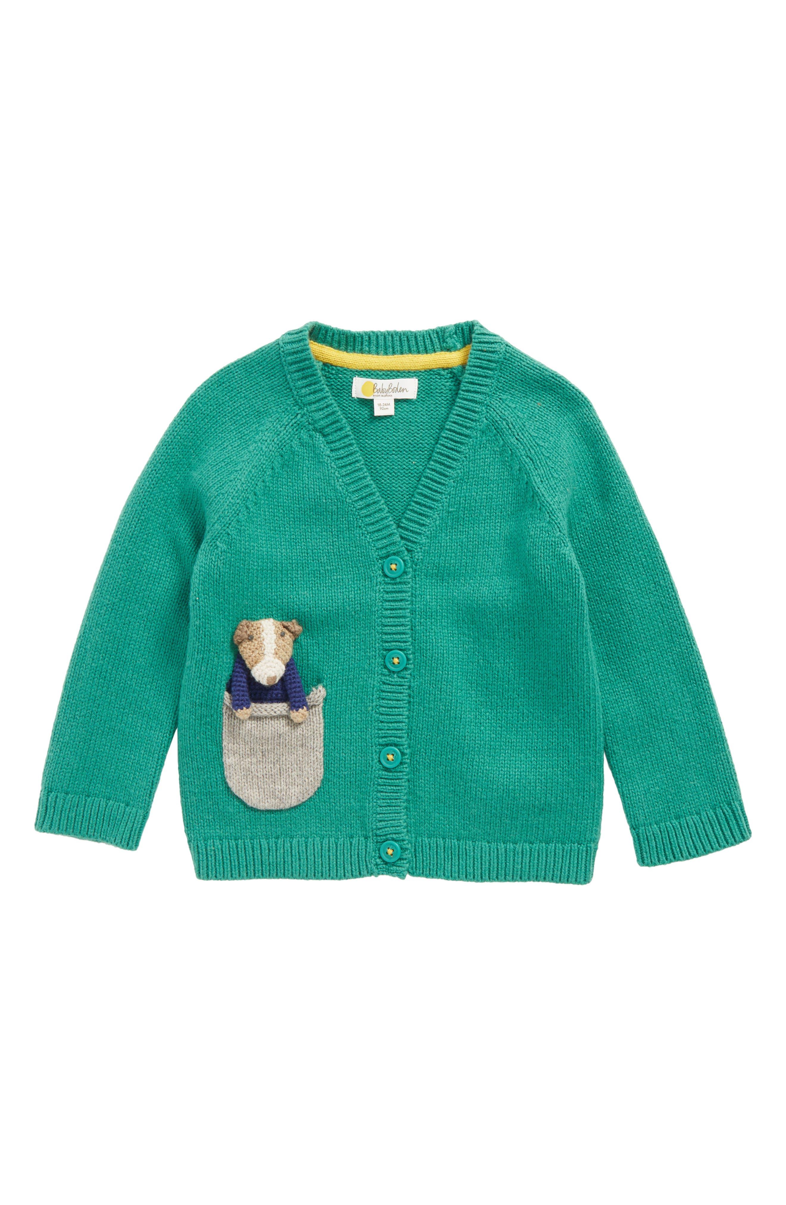 Mini Boden Pocket Pet Cardigan (Baby Boys & Toddler Boys)