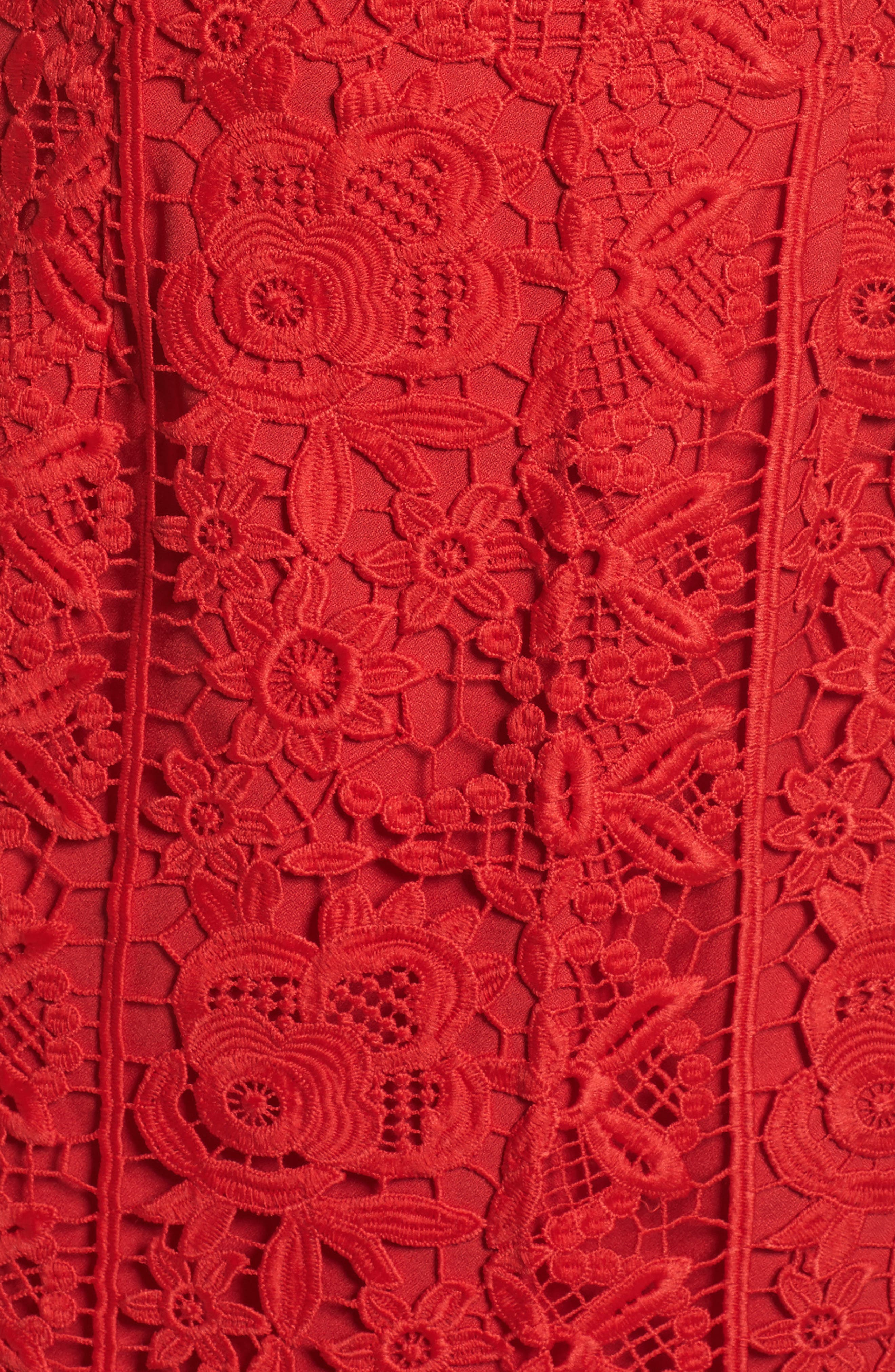 Talia Lace Off the Shoulder Midi Dress,                             Alternate thumbnail 5, color,                             Red