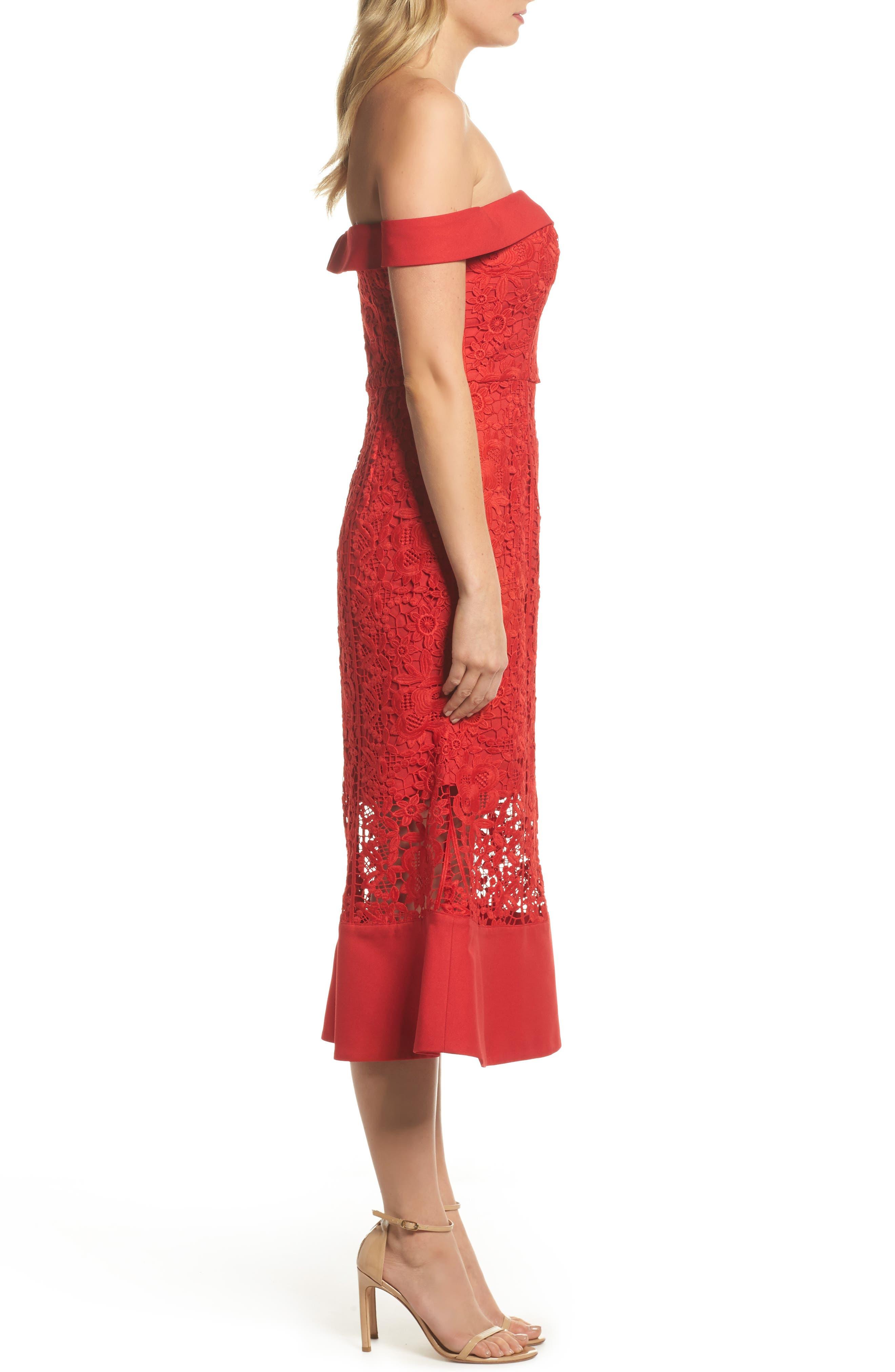 Talia Lace Off the Shoulder Midi Dress,                             Alternate thumbnail 3, color,                             Red