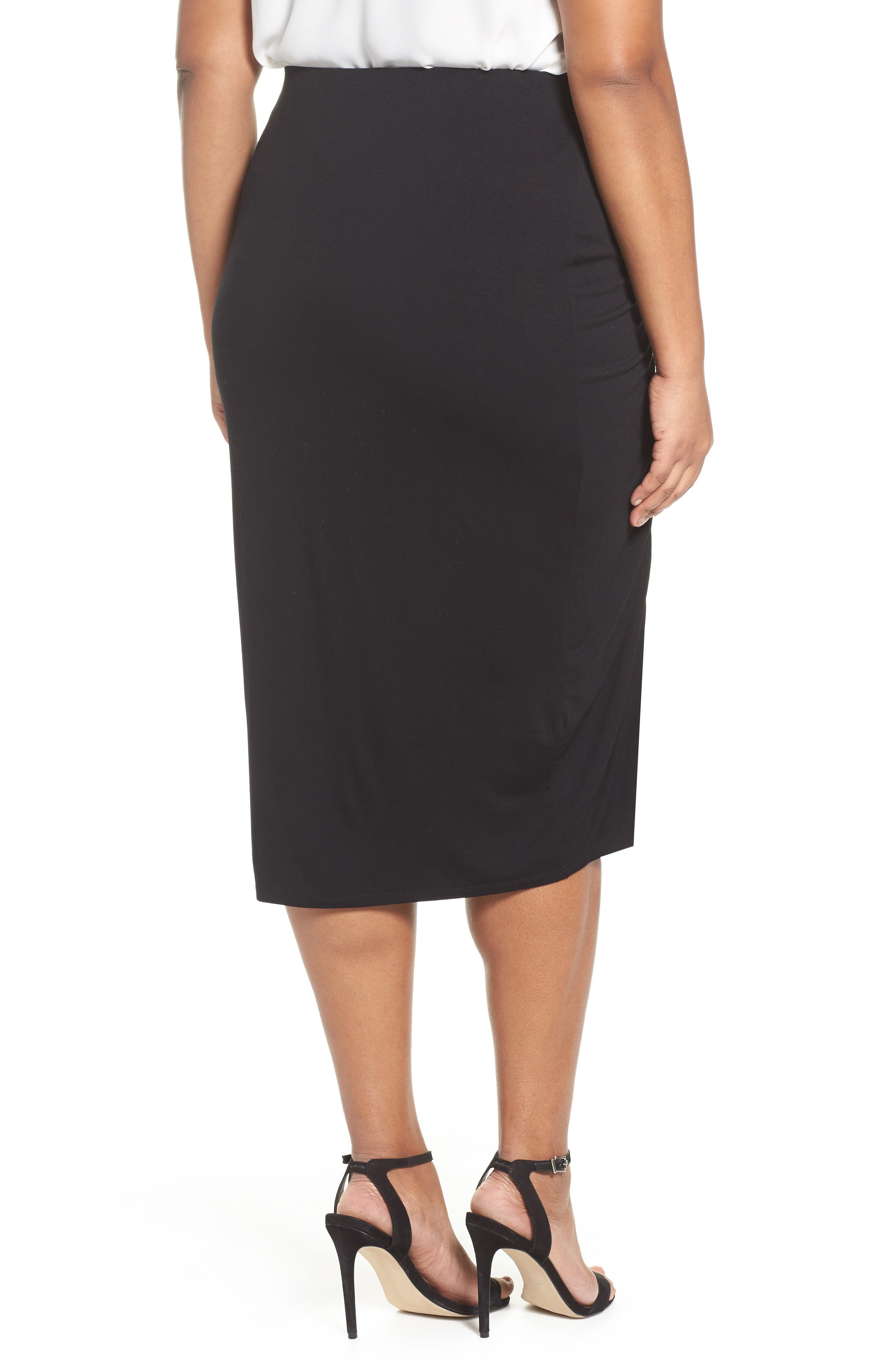Side Ruched Pencil Skirt,                             Alternate thumbnail 2, color,                             Rich Black