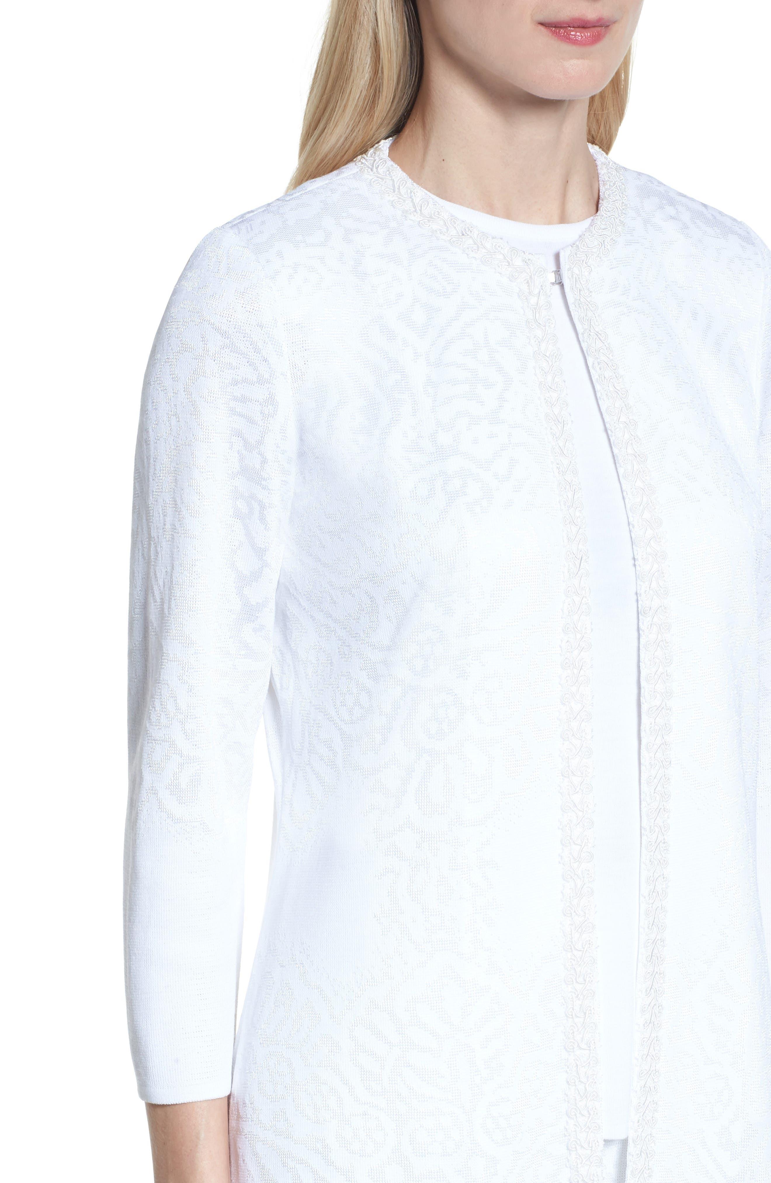 Floral Jacquard Jacket,                             Alternate thumbnail 4, color,                             White