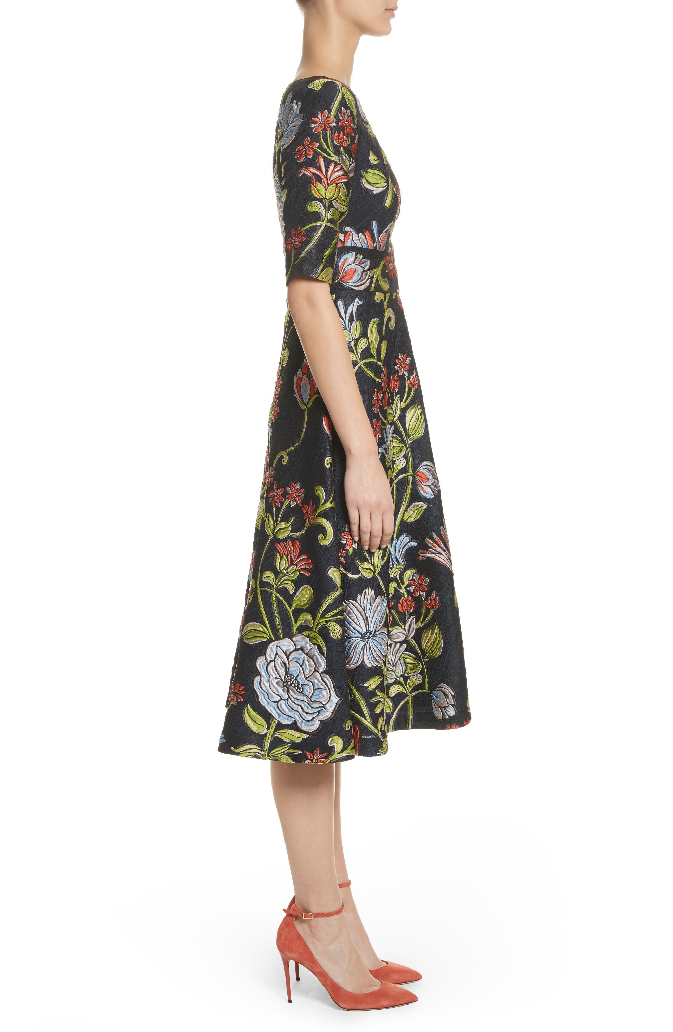 Floral Matelassé A-Line Dress,                             Alternate thumbnail 3, color,                             Navy Multi
