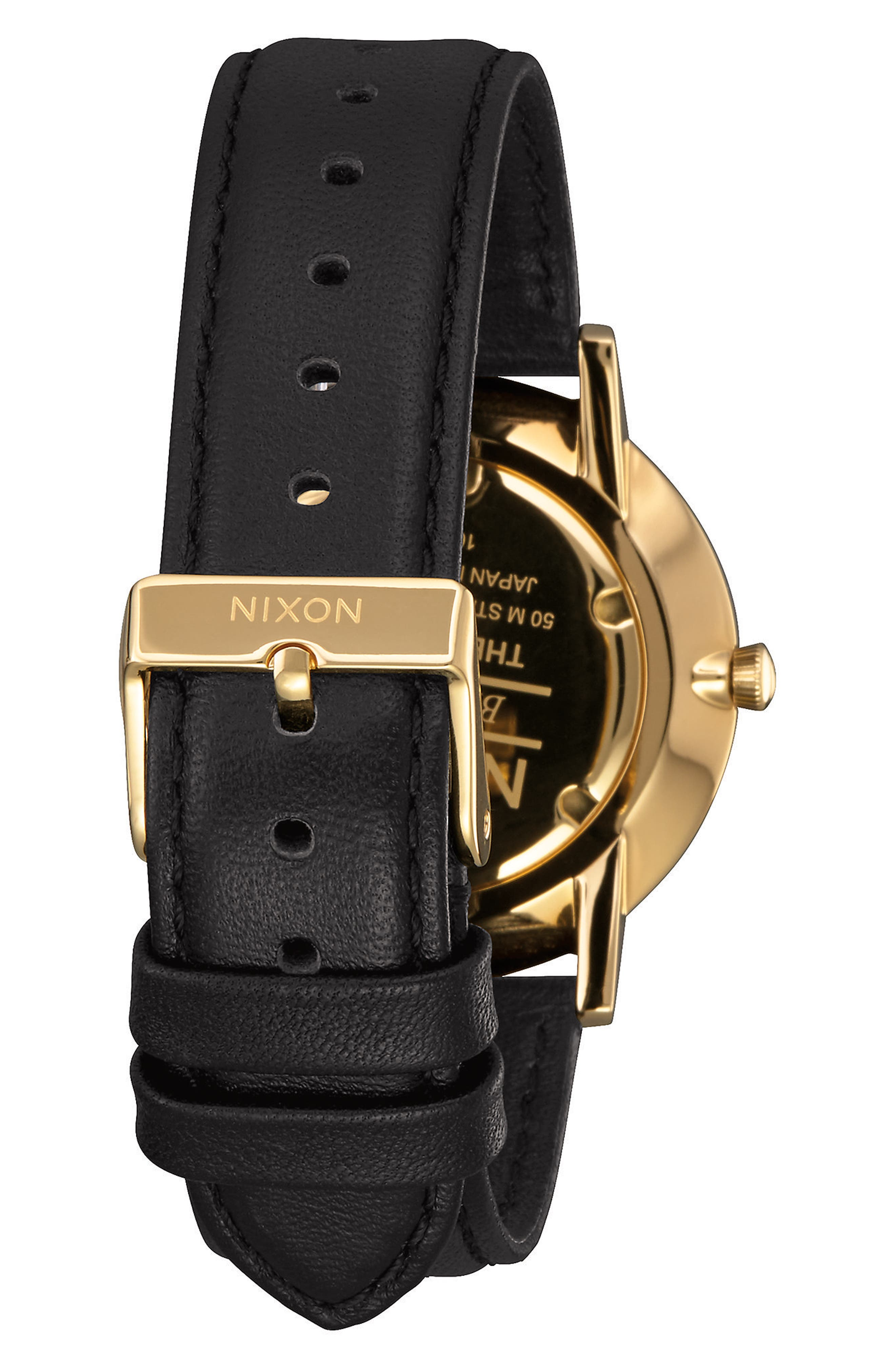 The Porter Leather Strap Watch, 40mm,                             Alternate thumbnail 2, color,                             Black/ Gold