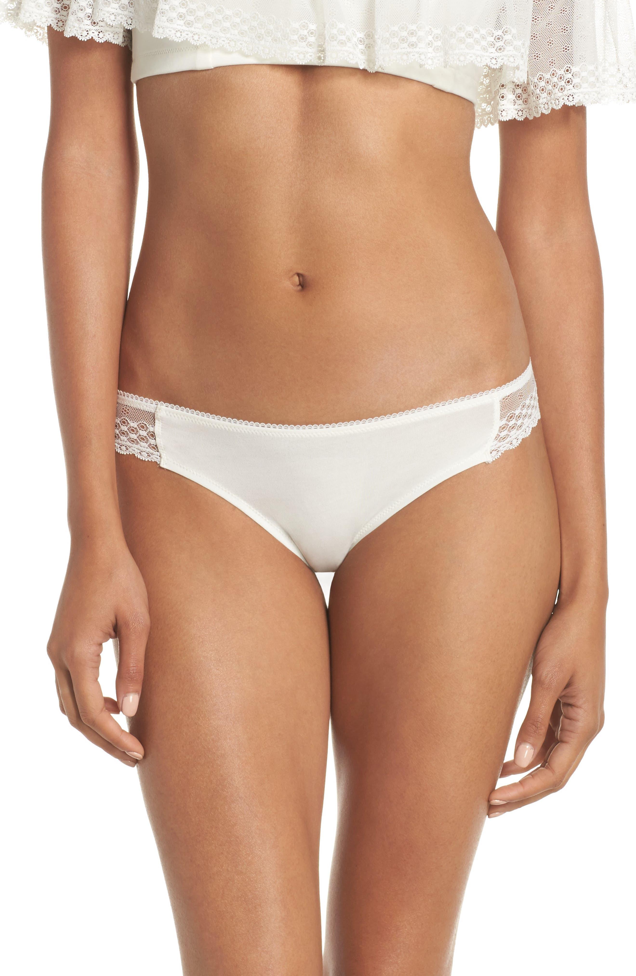 Organic Pima Cotton Blend Lace Bikini,                         Main,                         color, White