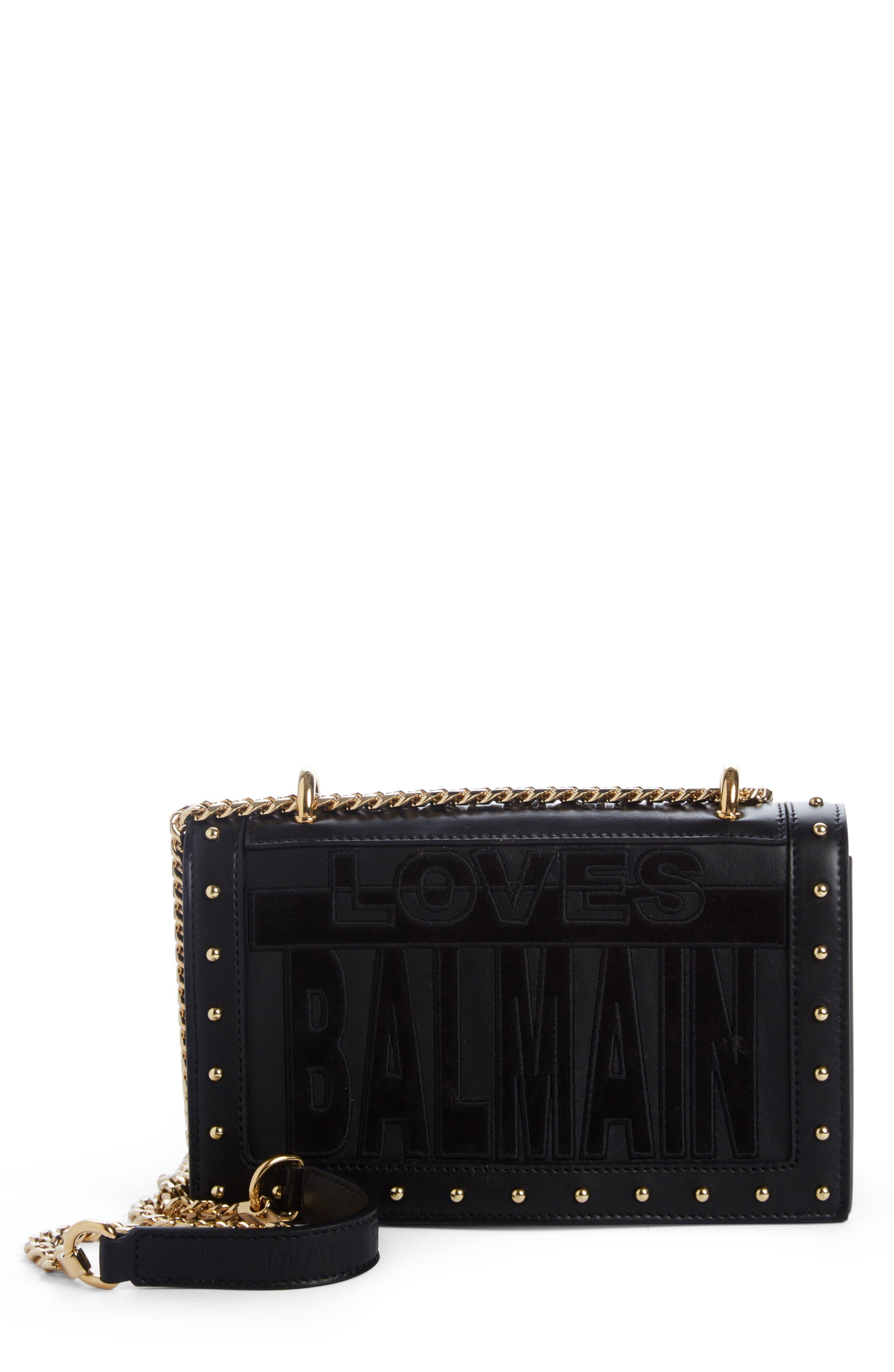 Balmain Love Logo Leather Shoulder Bag