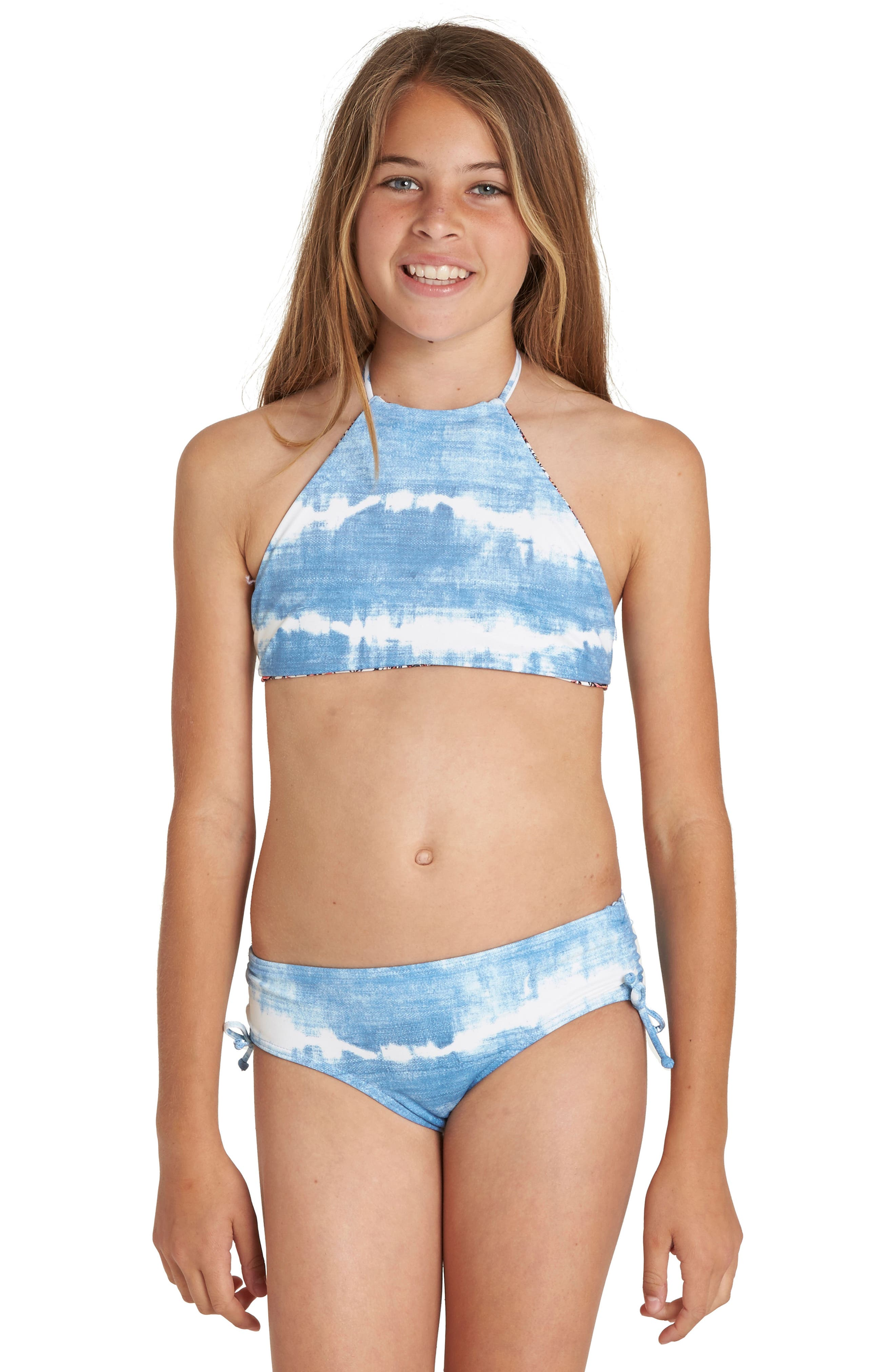 Lil Bliss Two-Piece Halter Swimsuit,                             Alternate thumbnail 2, color,                             Seashell