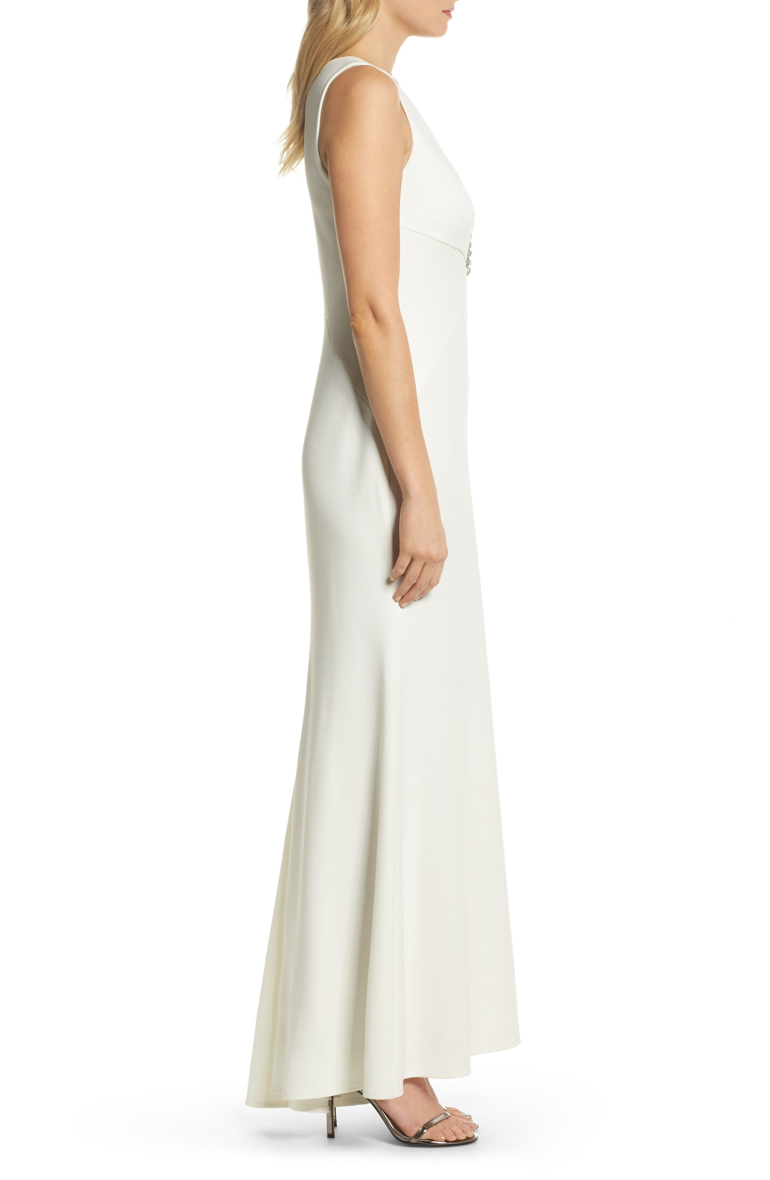 Embellished Scuba Crepe Gown,                             Alternate thumbnail 3, color,                             Ivory