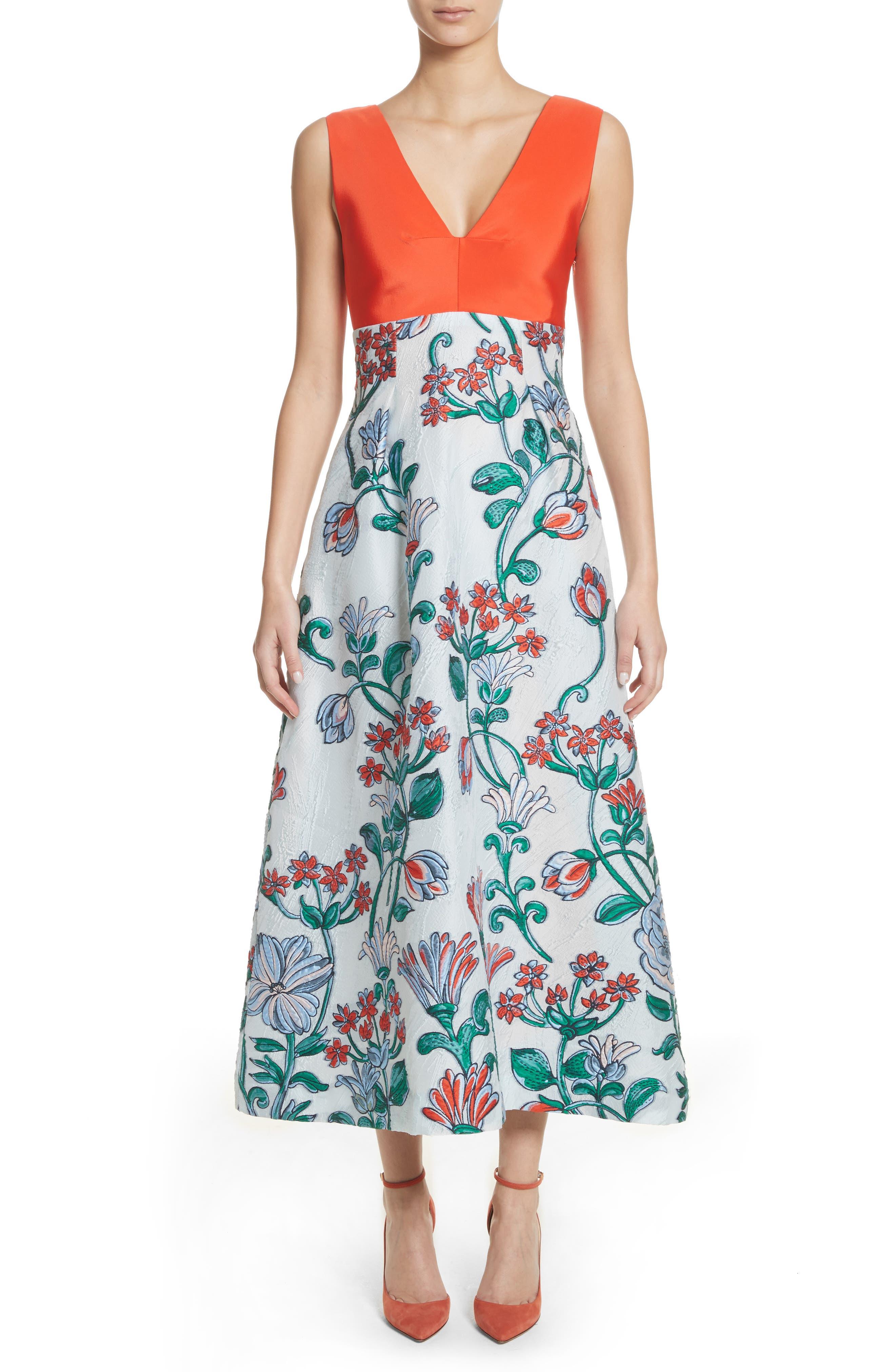 Tie Back Midi Dress,                         Main,                         color, Sky Multi