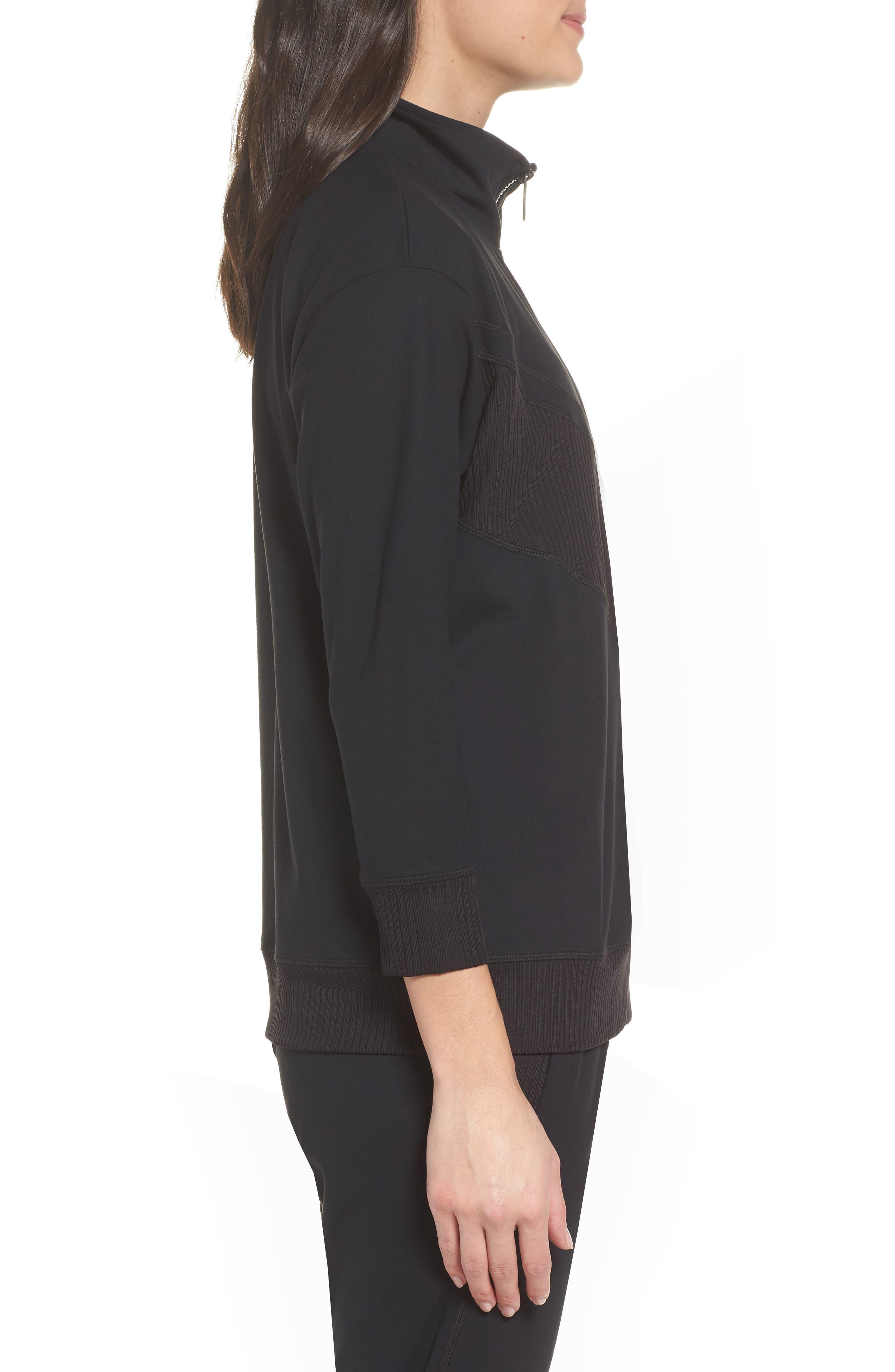Cato Quarter Zip Pullover,                             Alternate thumbnail 3, color,                             Black