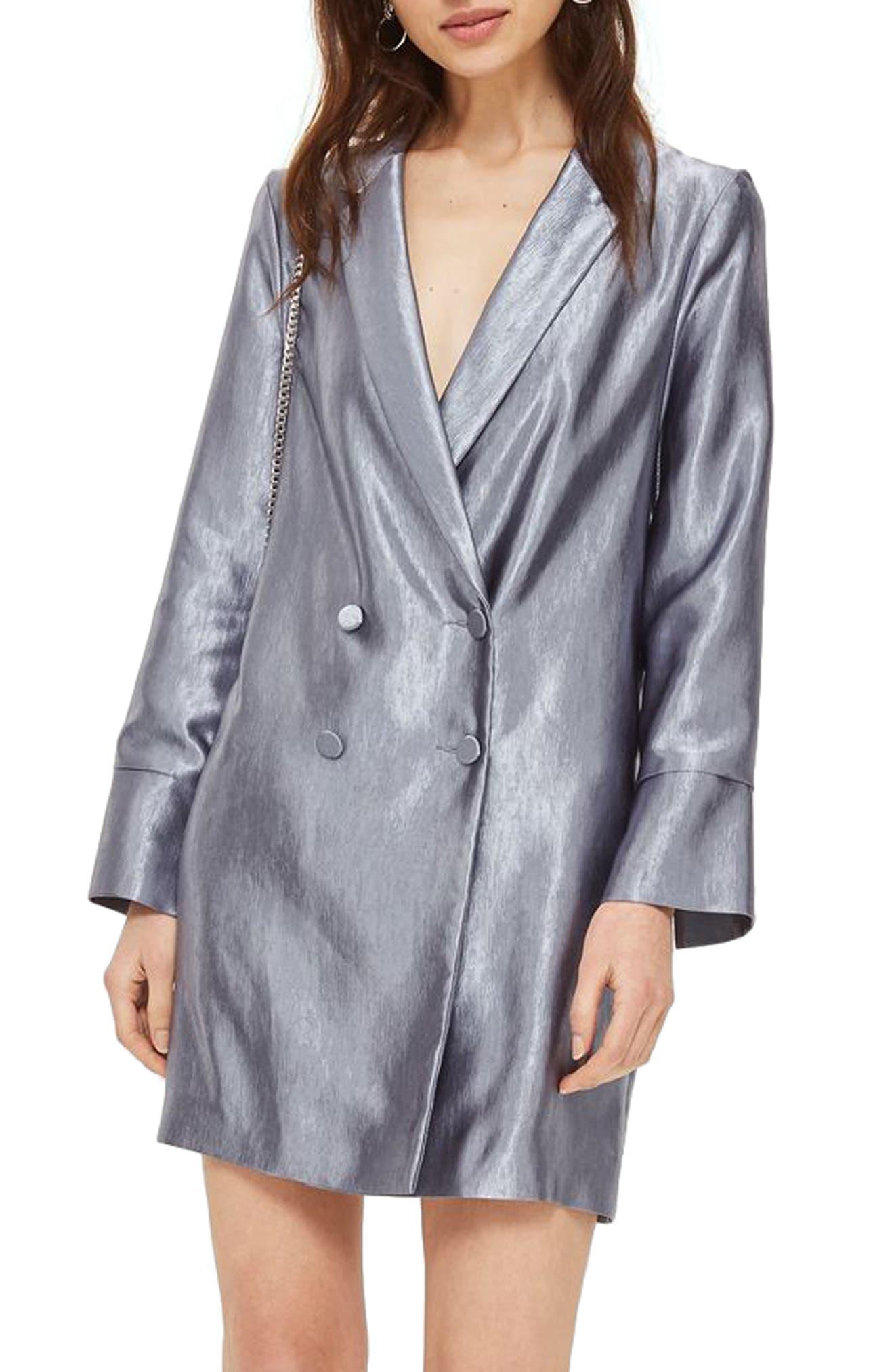 Topshop Crinkled Metallic Satin Blazer Dress