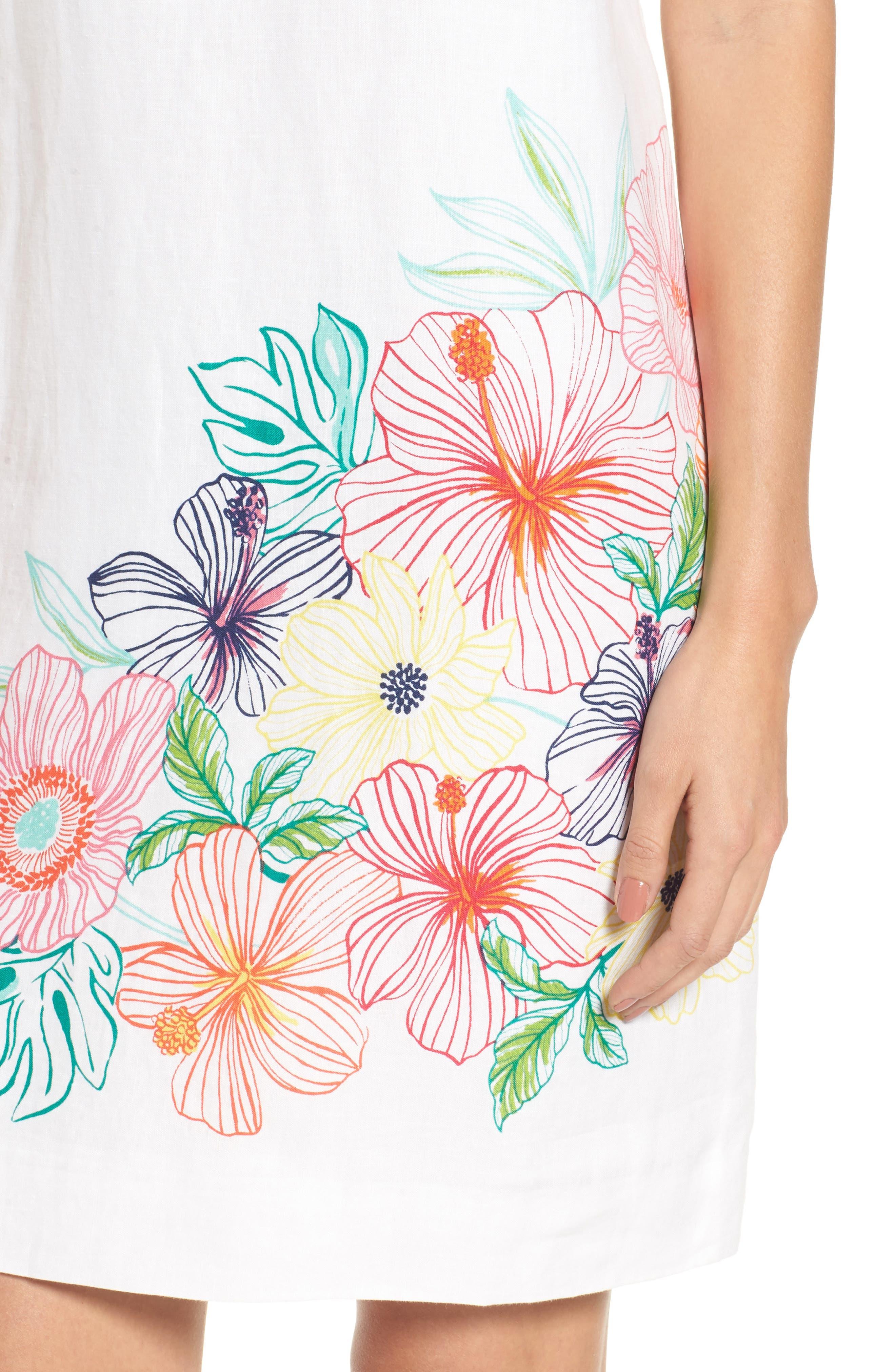 Hibiscus Sketch Shift Dress,                             Alternate thumbnail 4, color,                             White