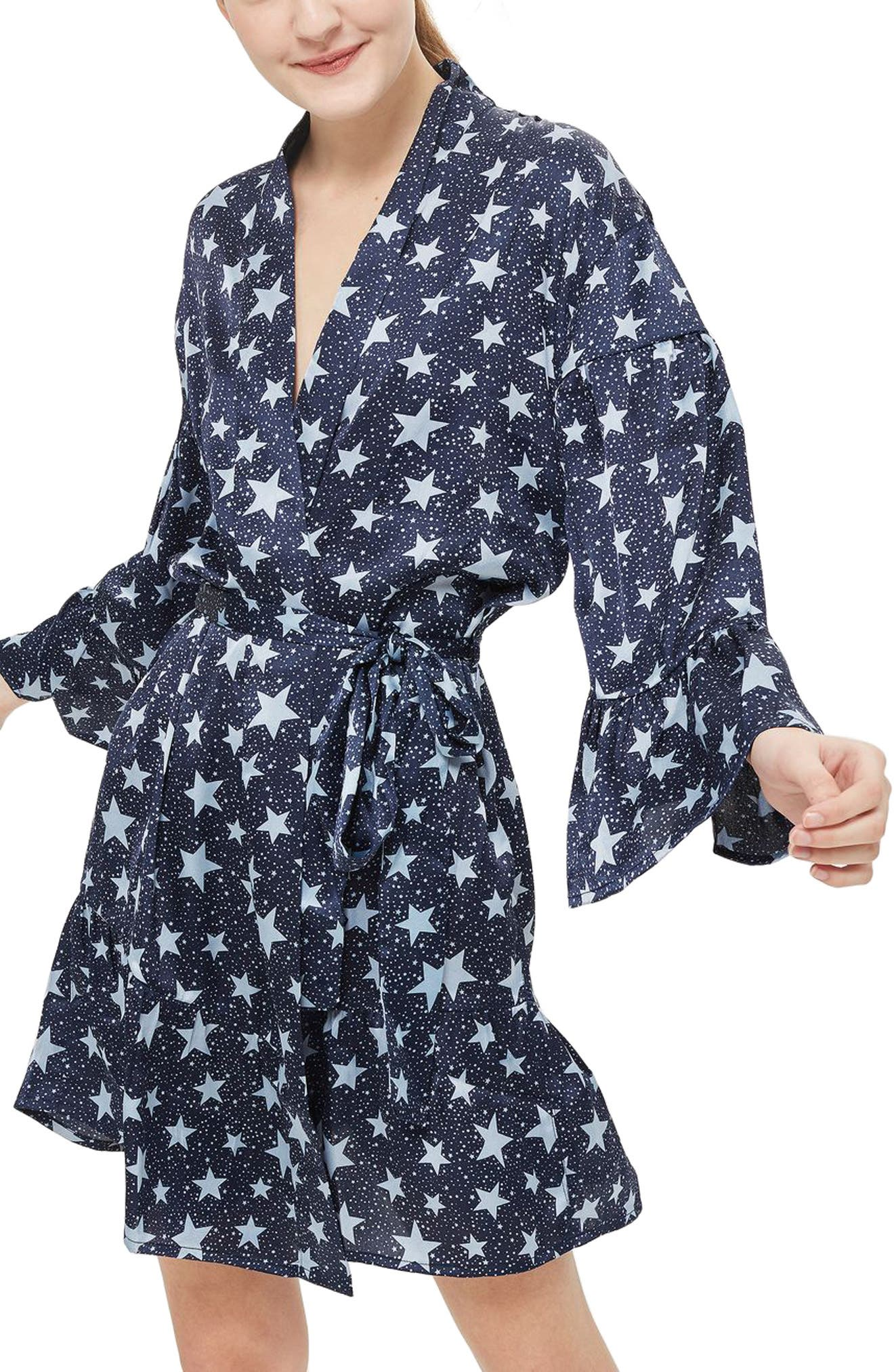 Star Satin Short Robe,                             Main thumbnail 1, color,                             Navy Blue Multi
