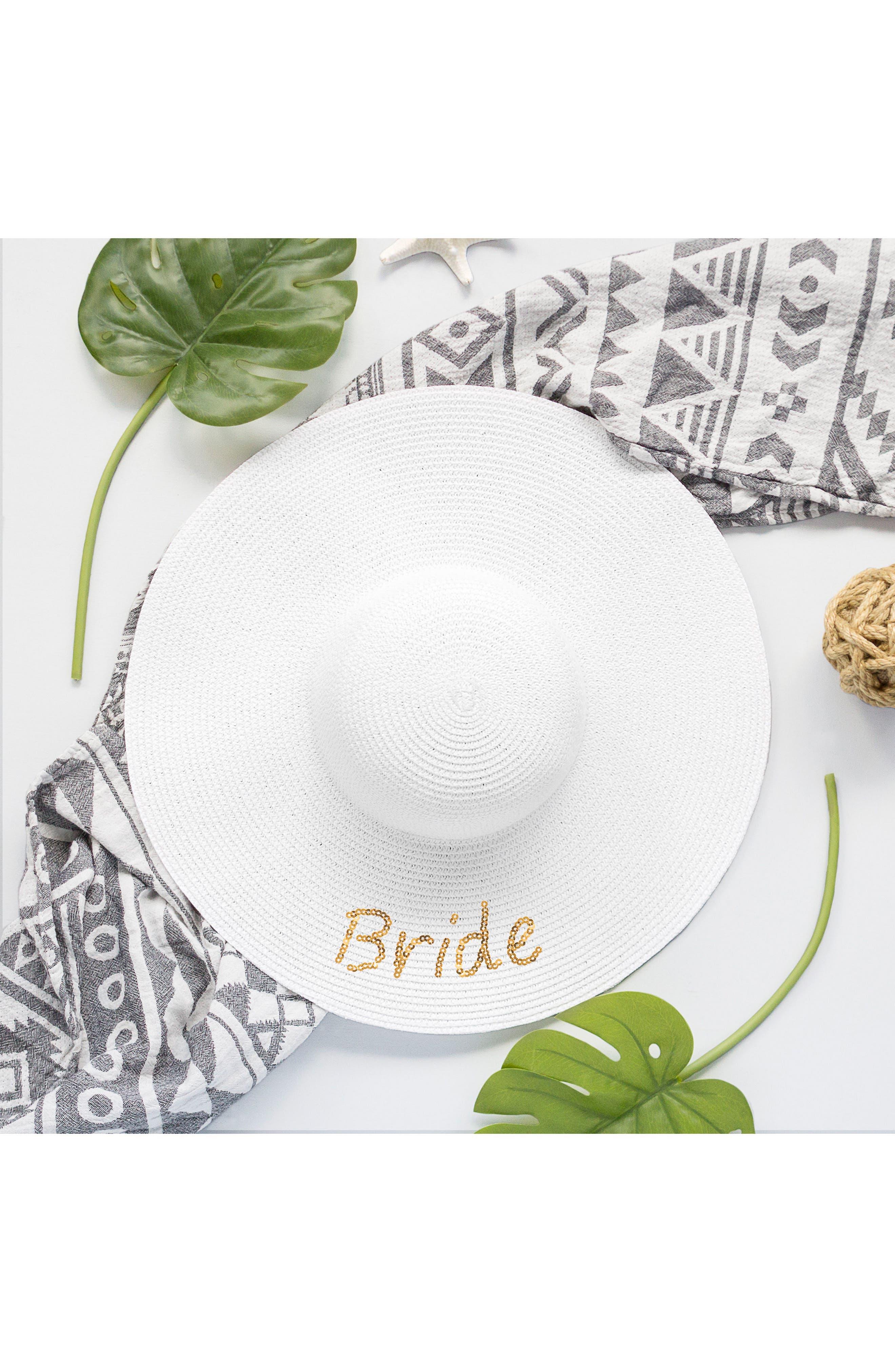 Bride Sequin Straw Hat,                             Alternate thumbnail 4, color,                             Gold