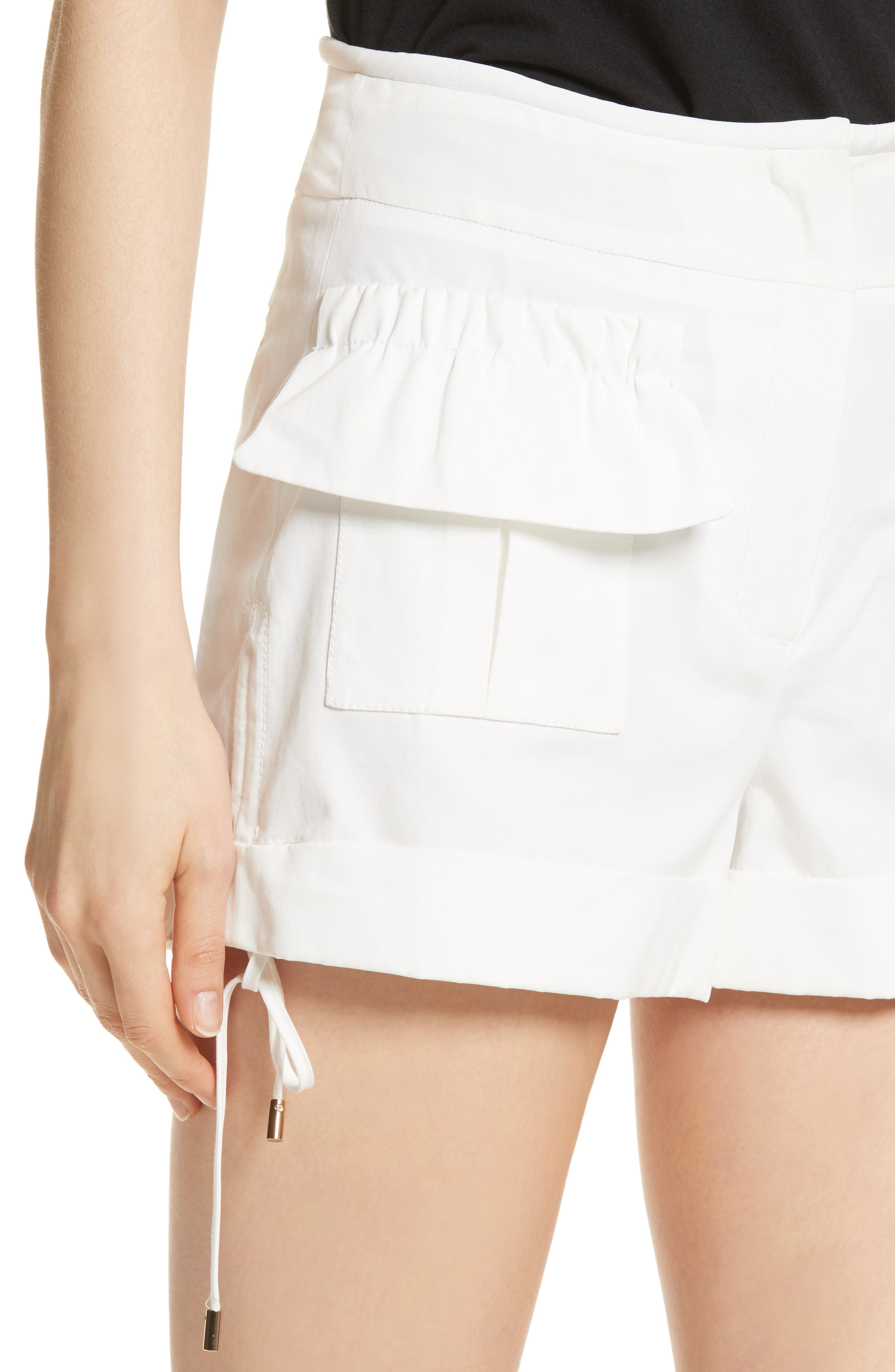 High Waist Shorts,                             Alternate thumbnail 4, color,                             Blanc Antique