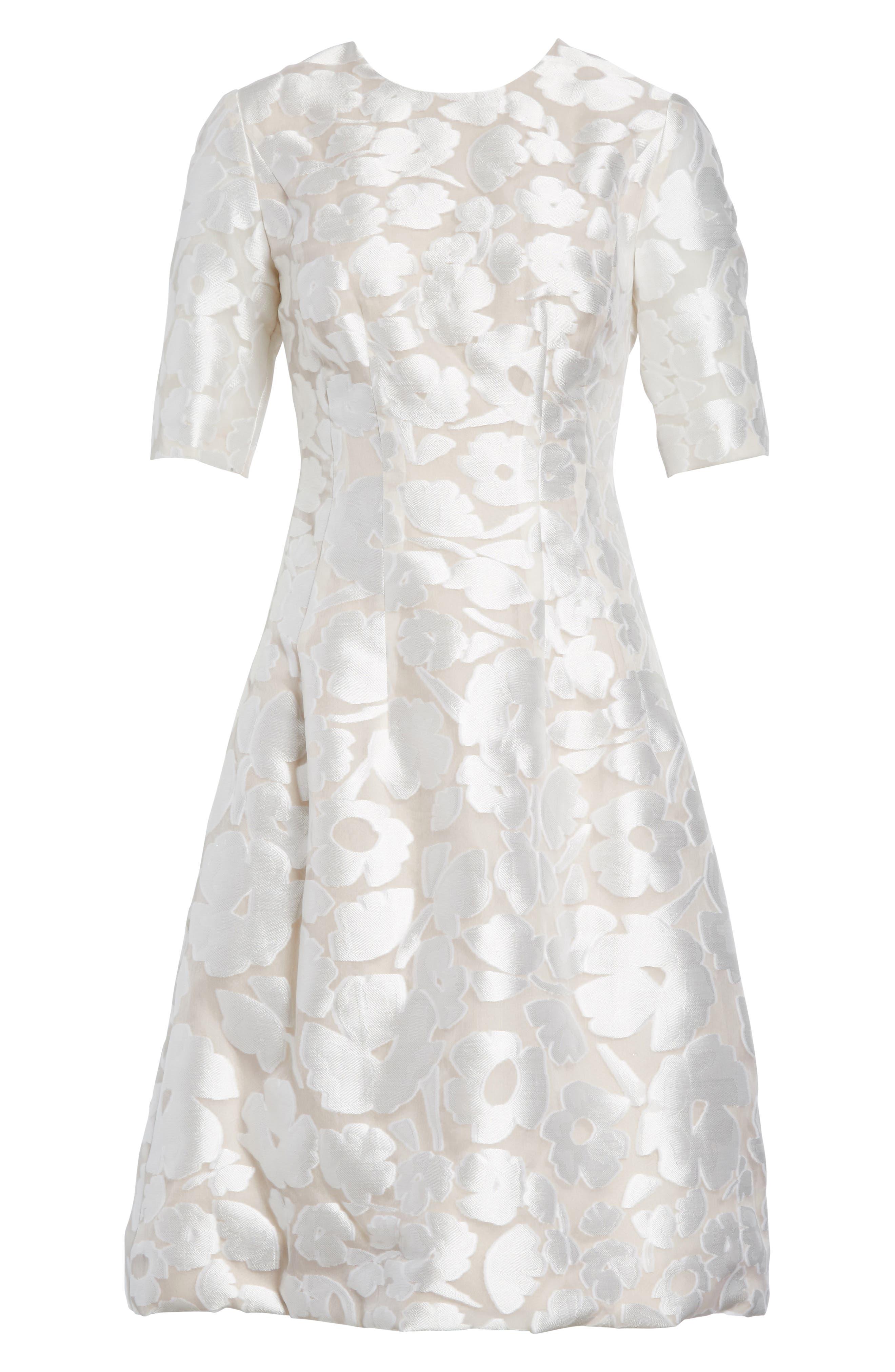 Holly Flower Print Dress,                             Alternate thumbnail 6, color,                             White