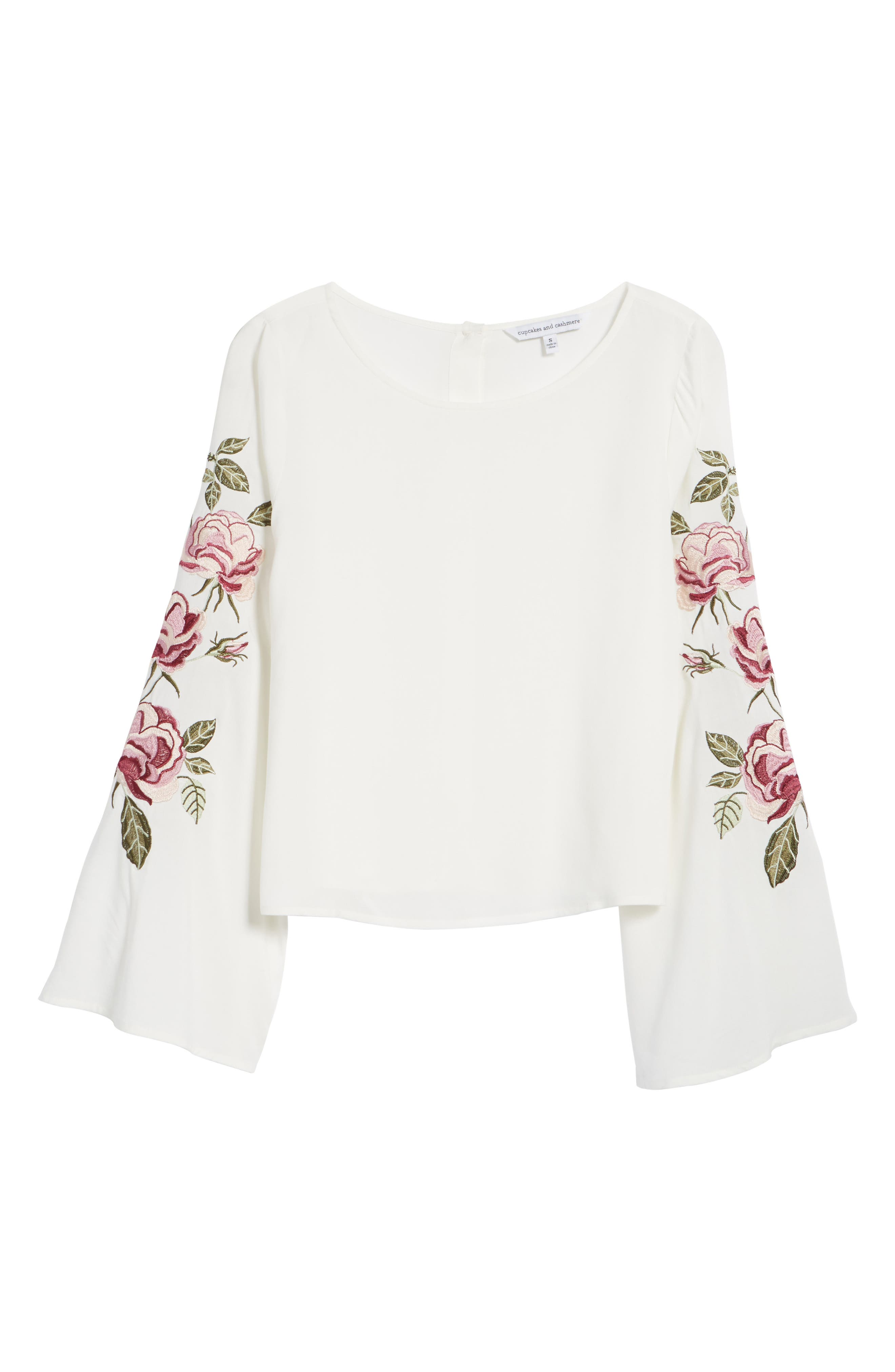 Aldona Embroidered Bell Sleeve Top,                             Alternate thumbnail 6, color,                             Ivory
