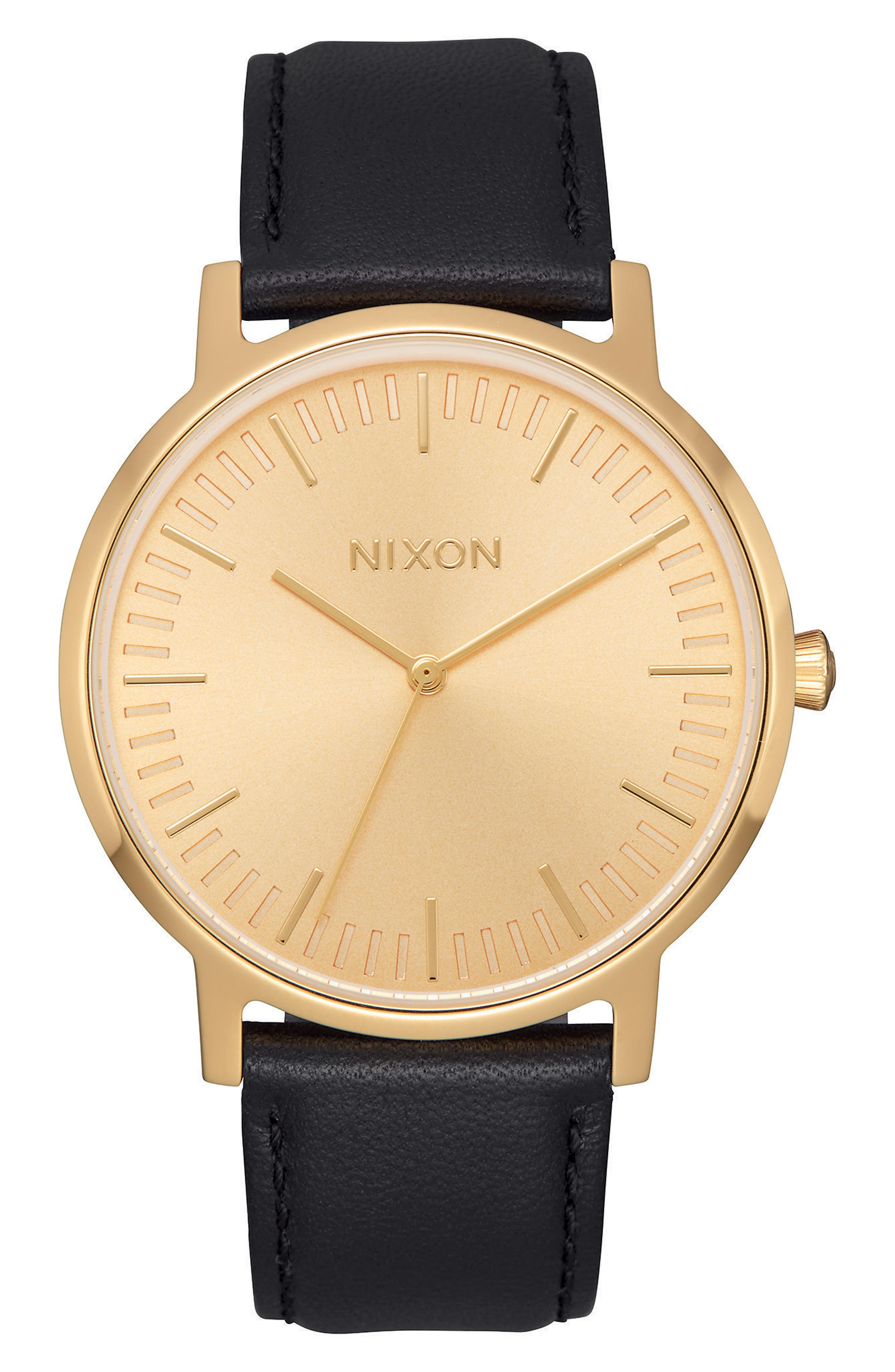 Nixon Watches THE PORTER LEATHER STRAP WATCH, 40MM