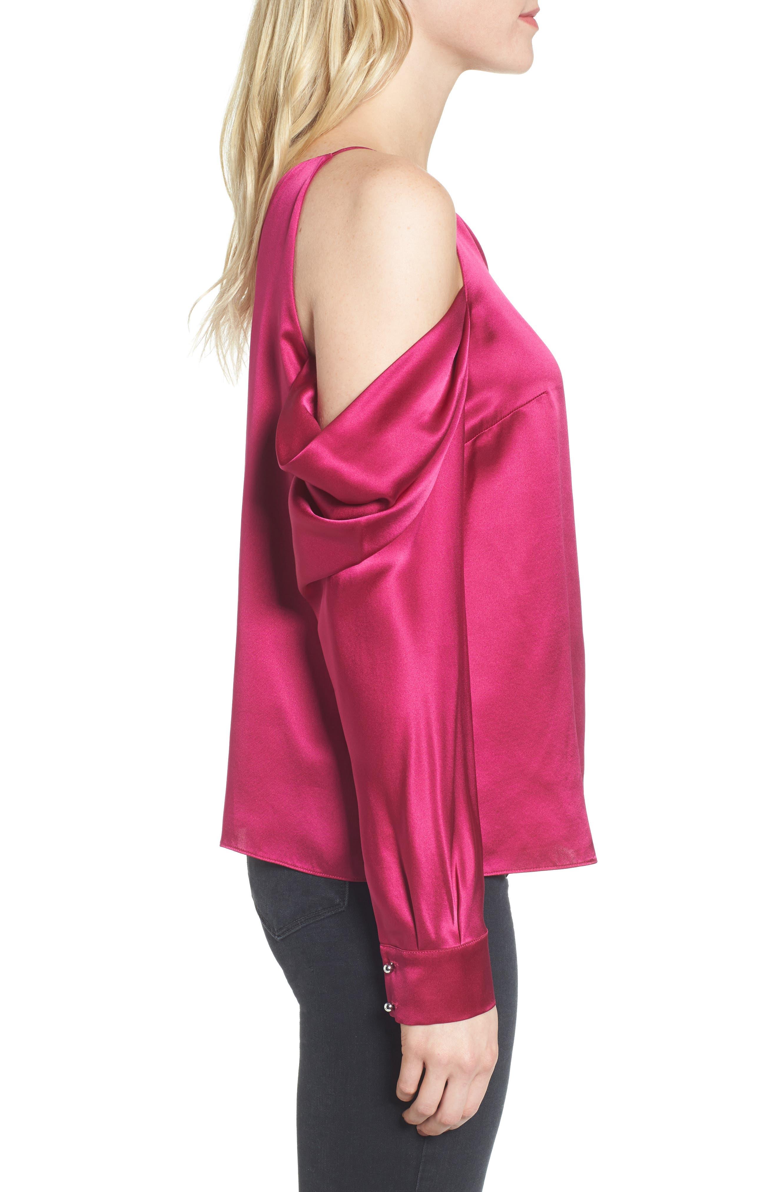 Amelia Asymmetrical Silk Blouse,                             Alternate thumbnail 3, color,                             Beetroot