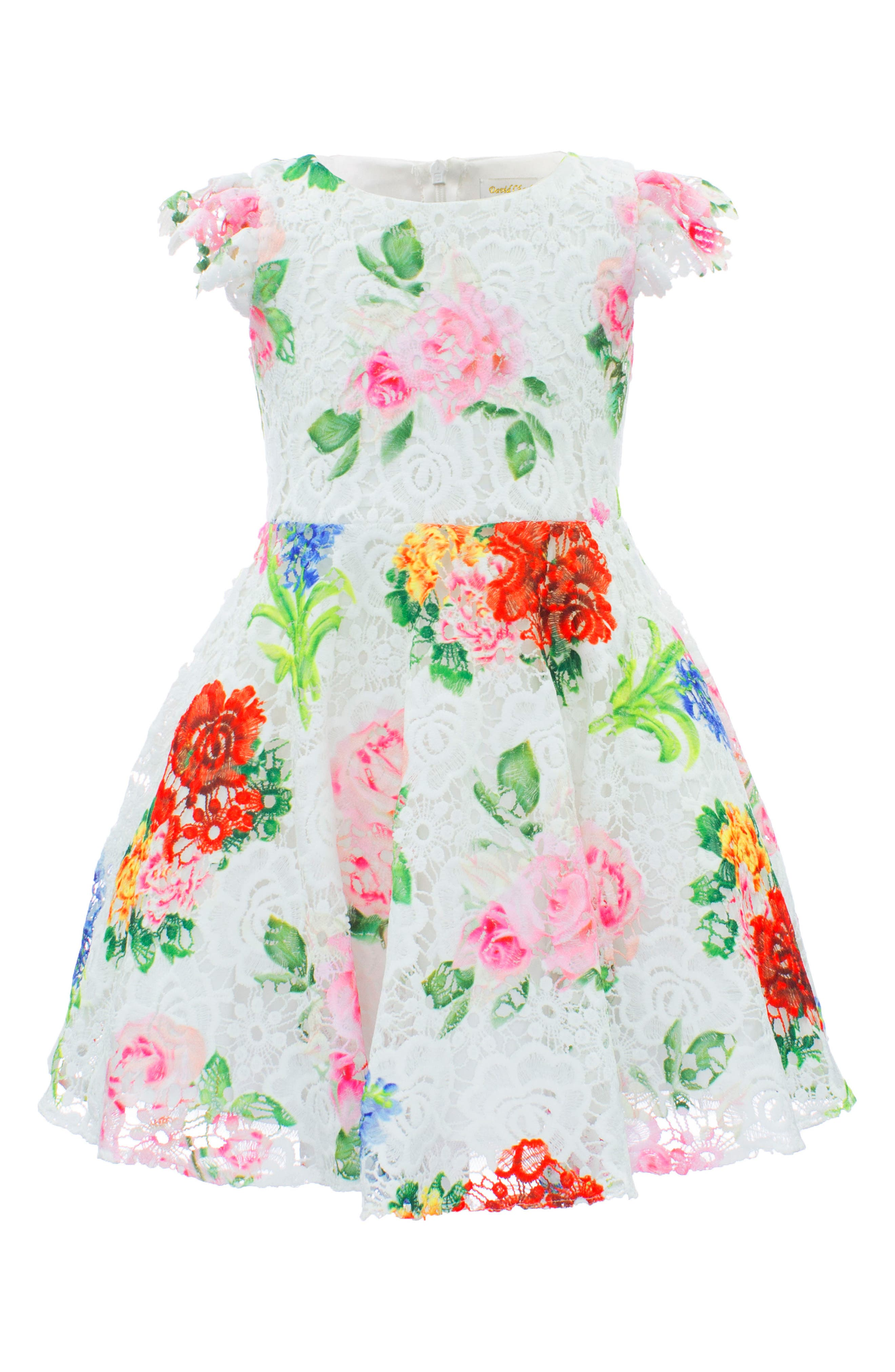 Print Lace Dress,                             Main thumbnail 1, color,                             Ivory/ Multi Color