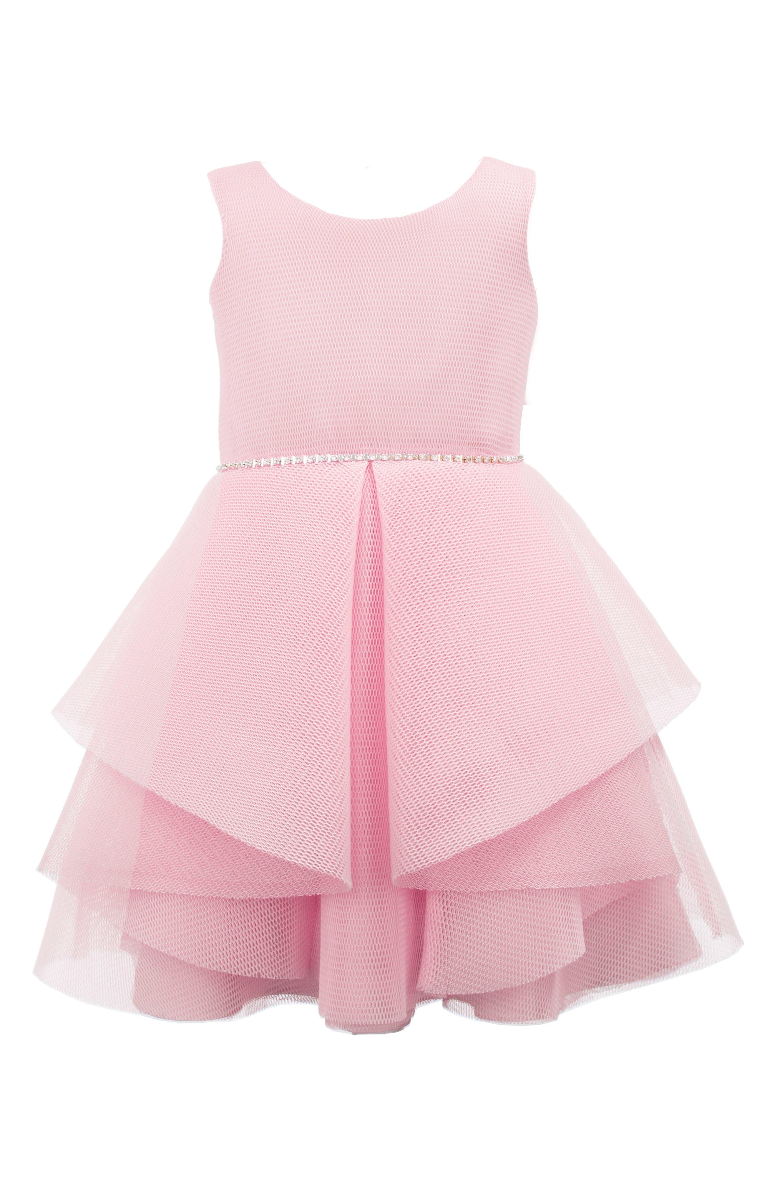 Wrapover Mesh Dress,                             Main thumbnail 1, color,                             Pink