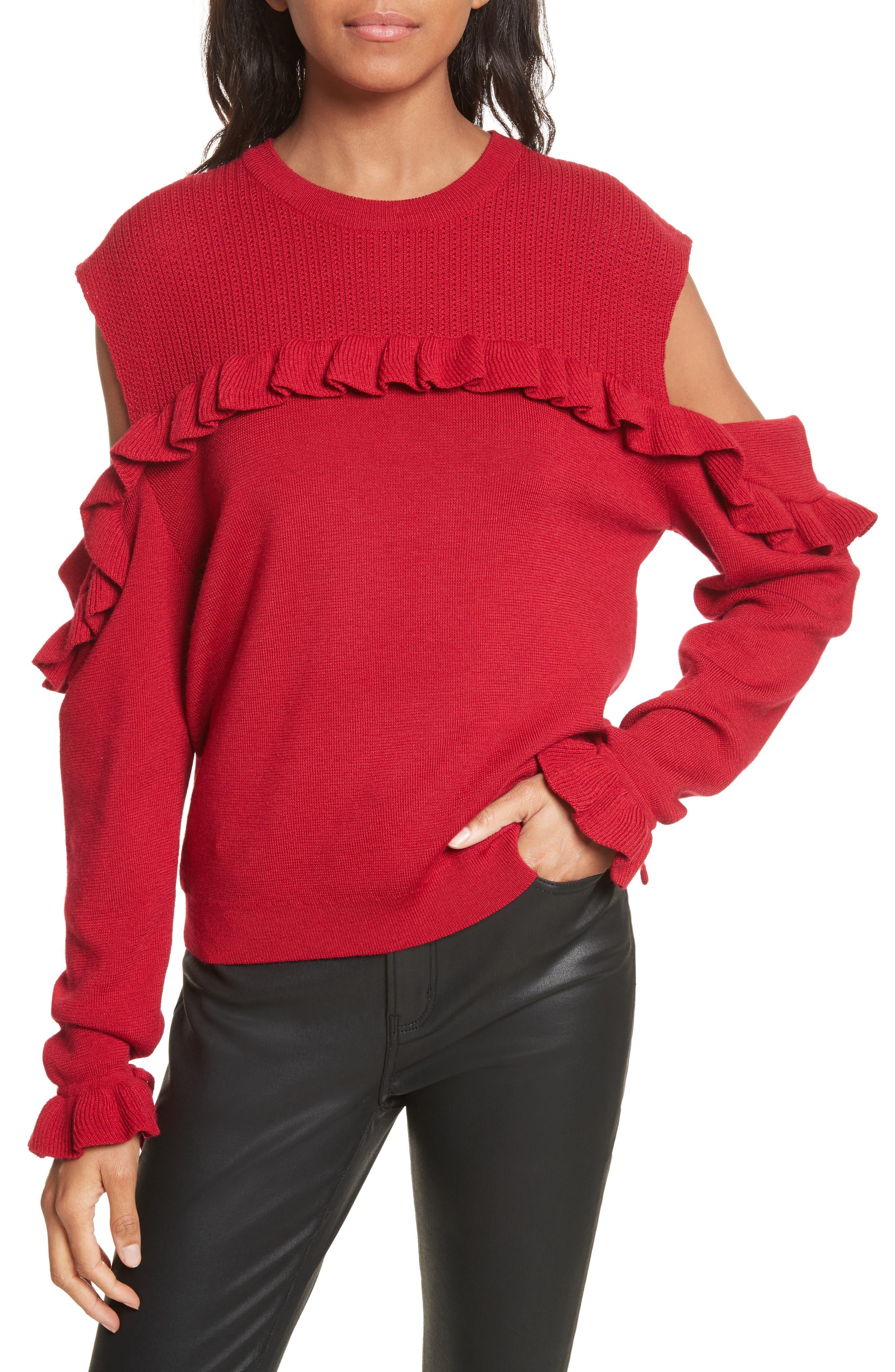 The Kooples Ruffle Cold Shoulder Merino Wool Sweater
