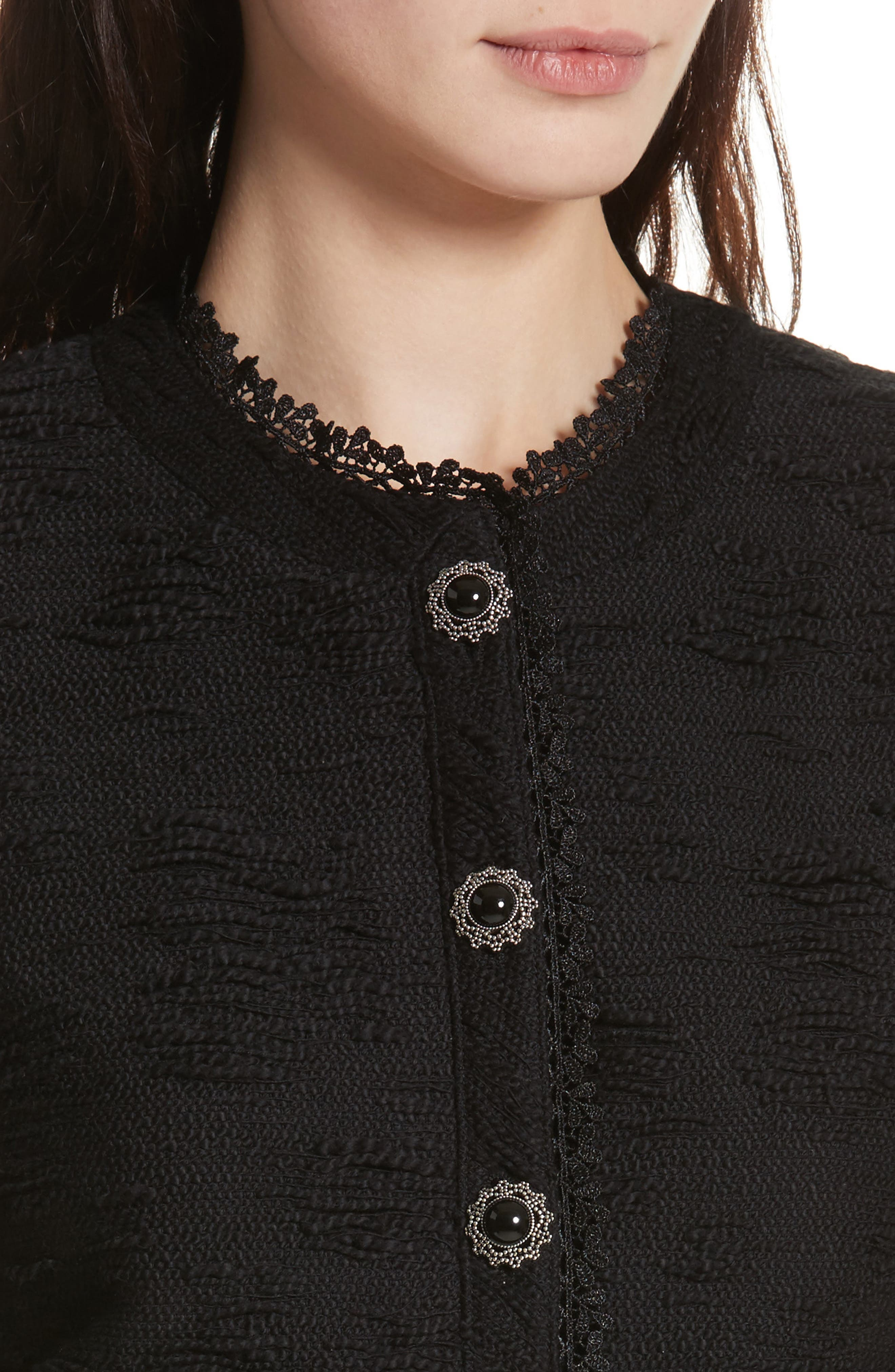 Lace Trim Boxy Jacket,                             Alternate thumbnail 4, color,                             Black