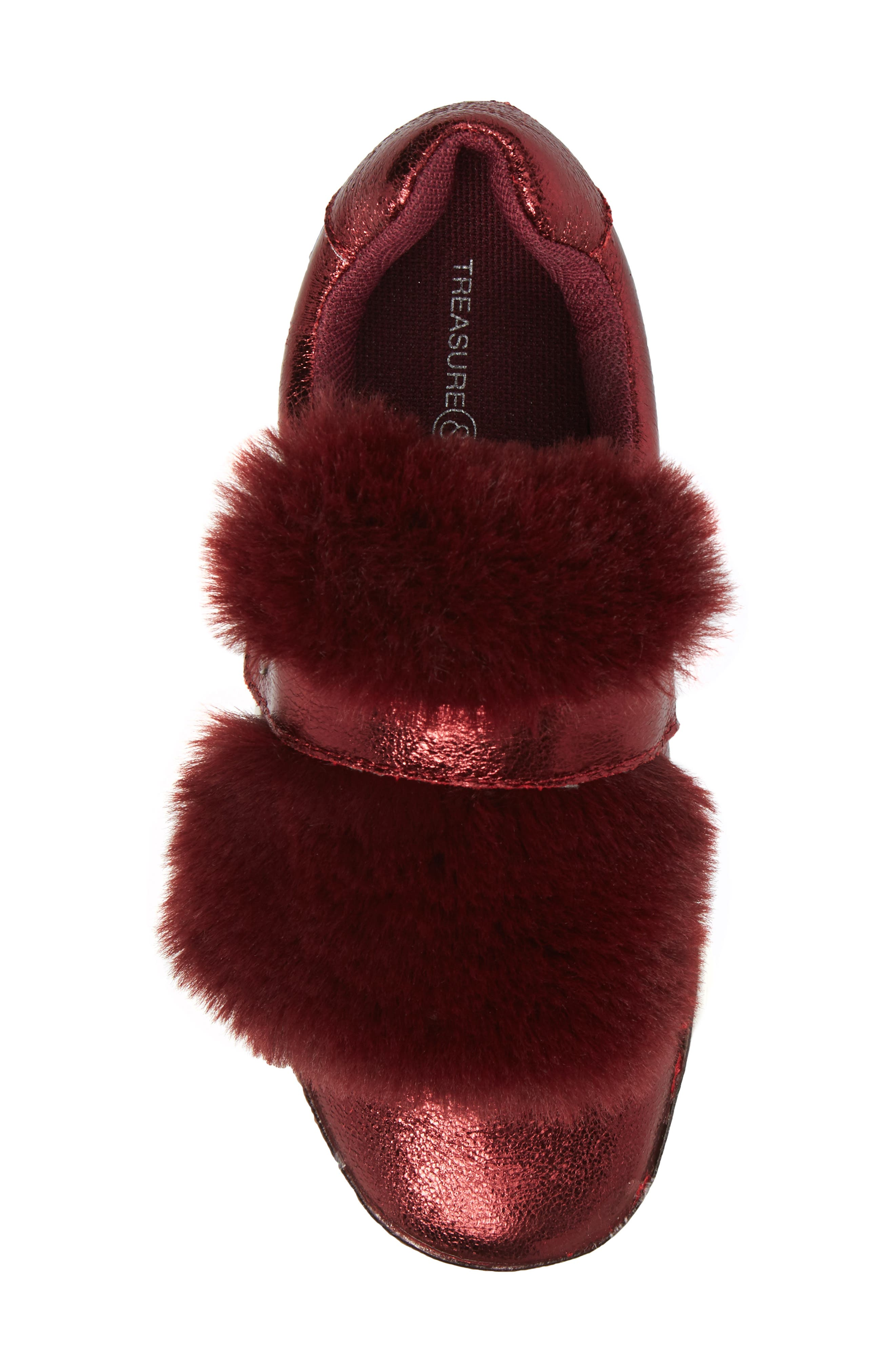Zandra Faux Fur Metallic Sneaker,                             Alternate thumbnail 5, color,                             Burgundy Faux Leather