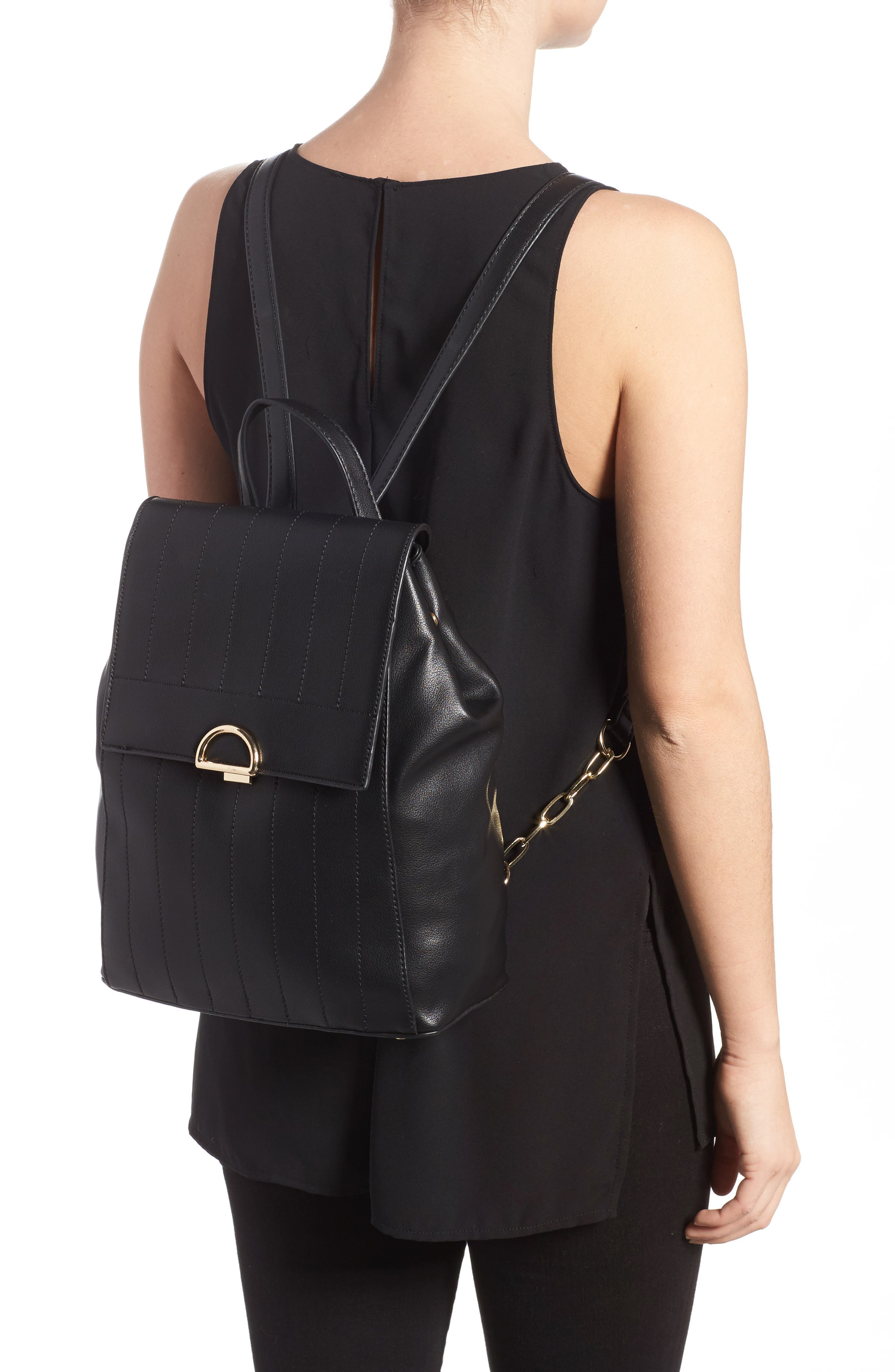 Zilo Quilted Faux Leather Backpack,                             Alternate thumbnail 2, color,                             Black