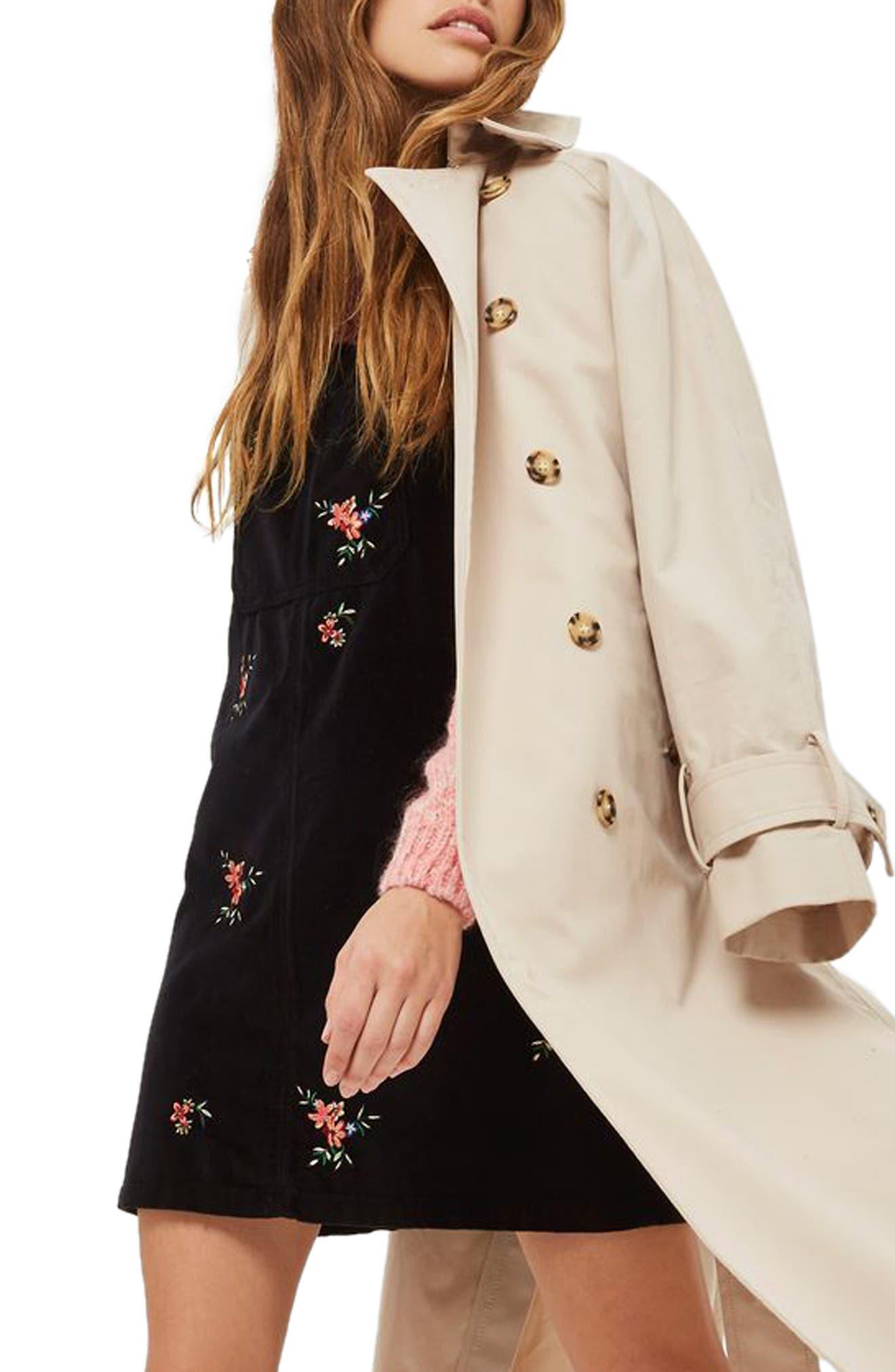 Alternate Image 3  - Topshop Embroidered Velvet Pinafore Dress (Petite)
