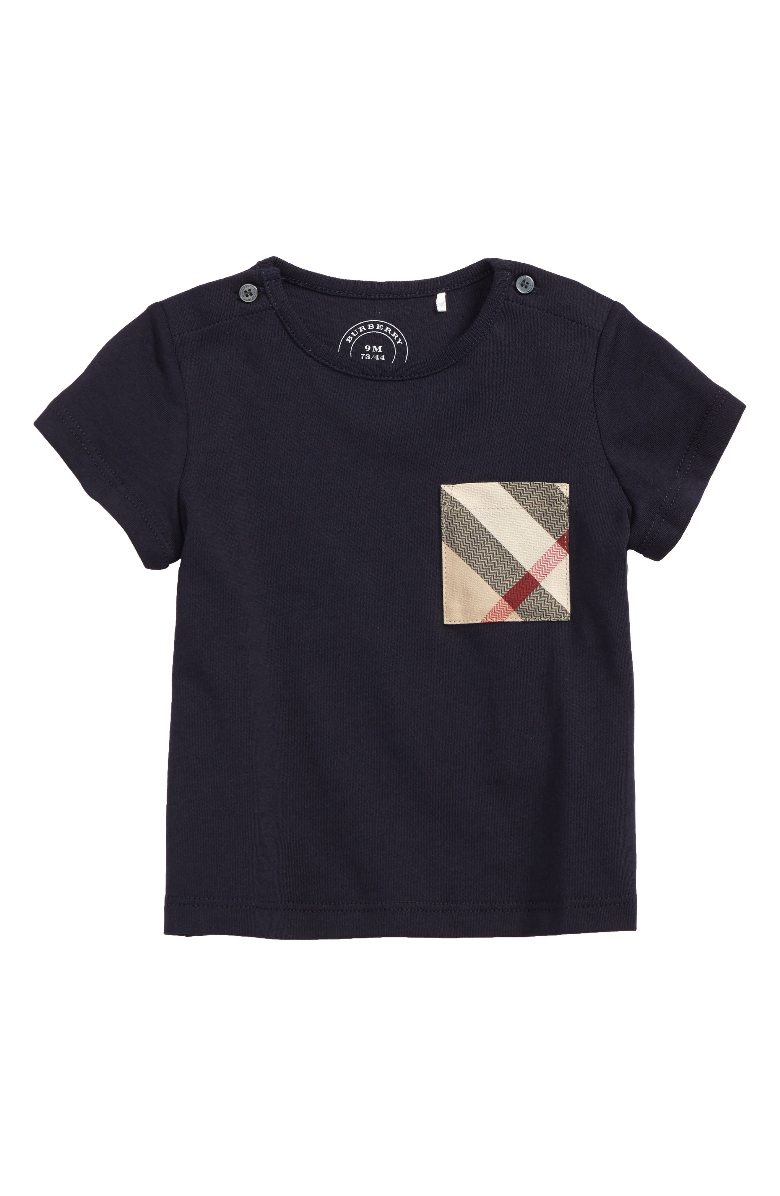 Main Image - Burberry Check Pocket T-Shirt (Baby Boys & Toddler Boys)
