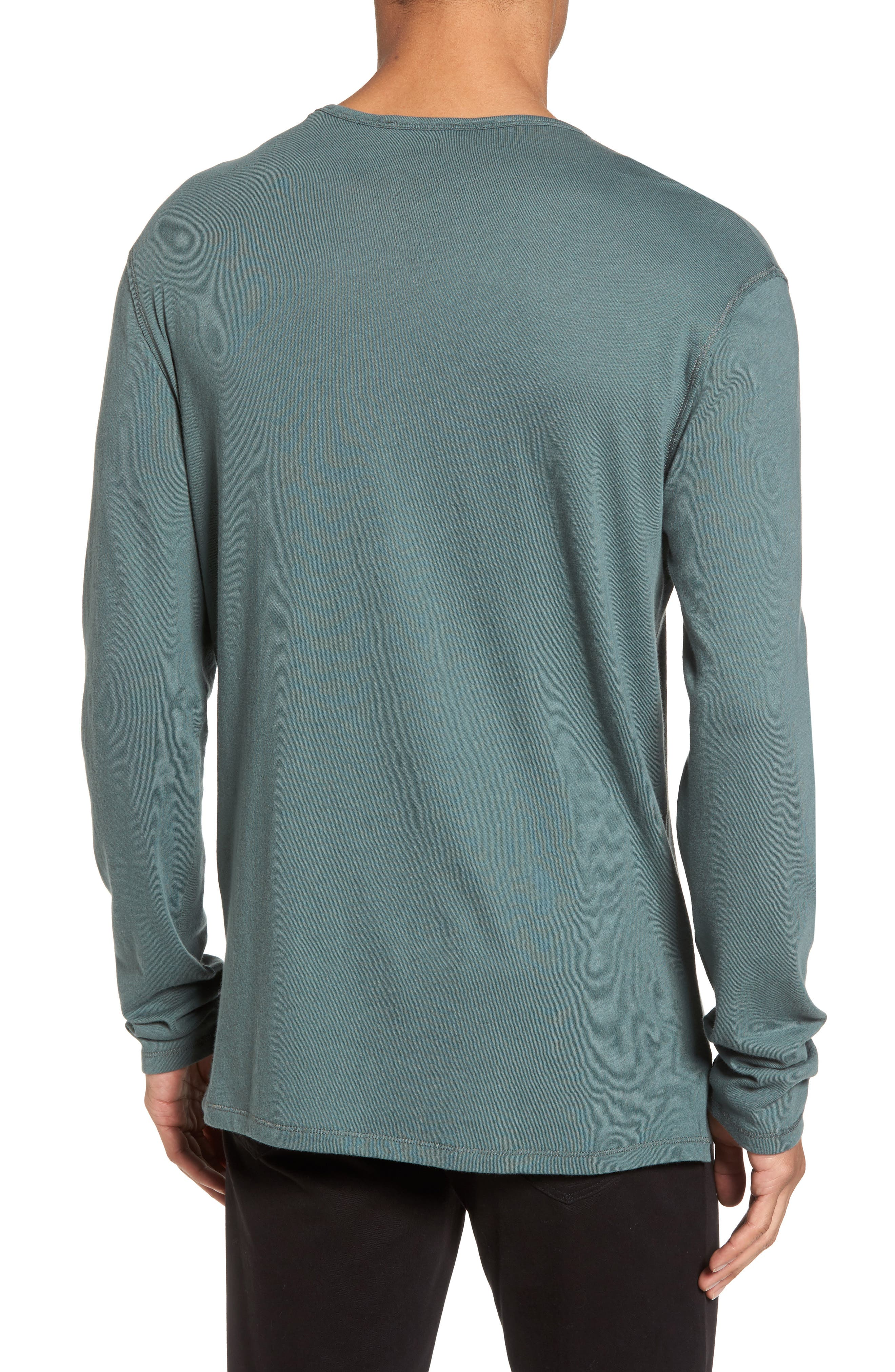 Raw Edge Long Sleeve Henley T-Shirt,                             Alternate thumbnail 2, color,                             Cilantro