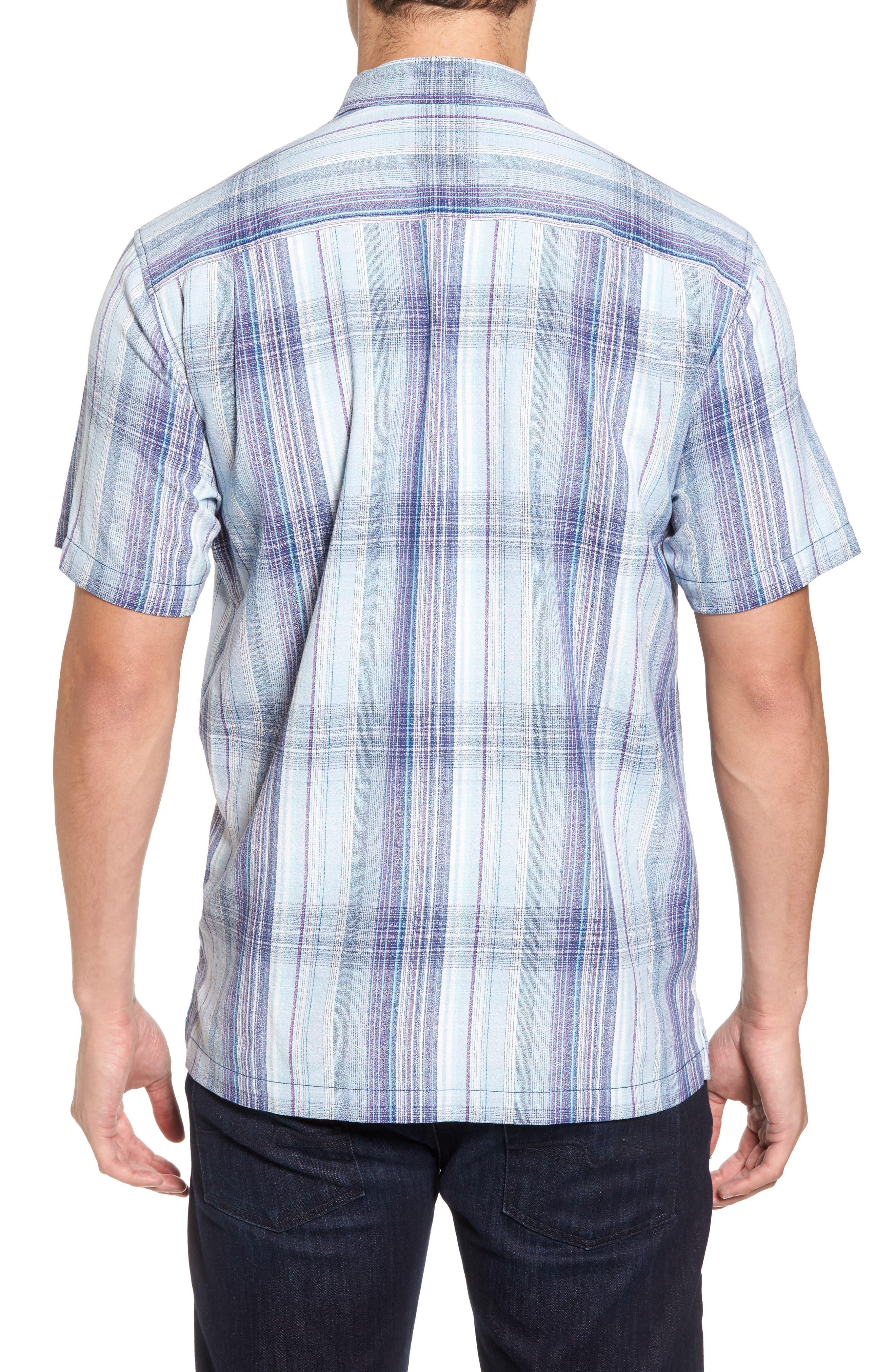 Banyan Cay Plaid Silk Blend Camp Shirt,                             Alternate thumbnail 2, color,                             Dockside Blue