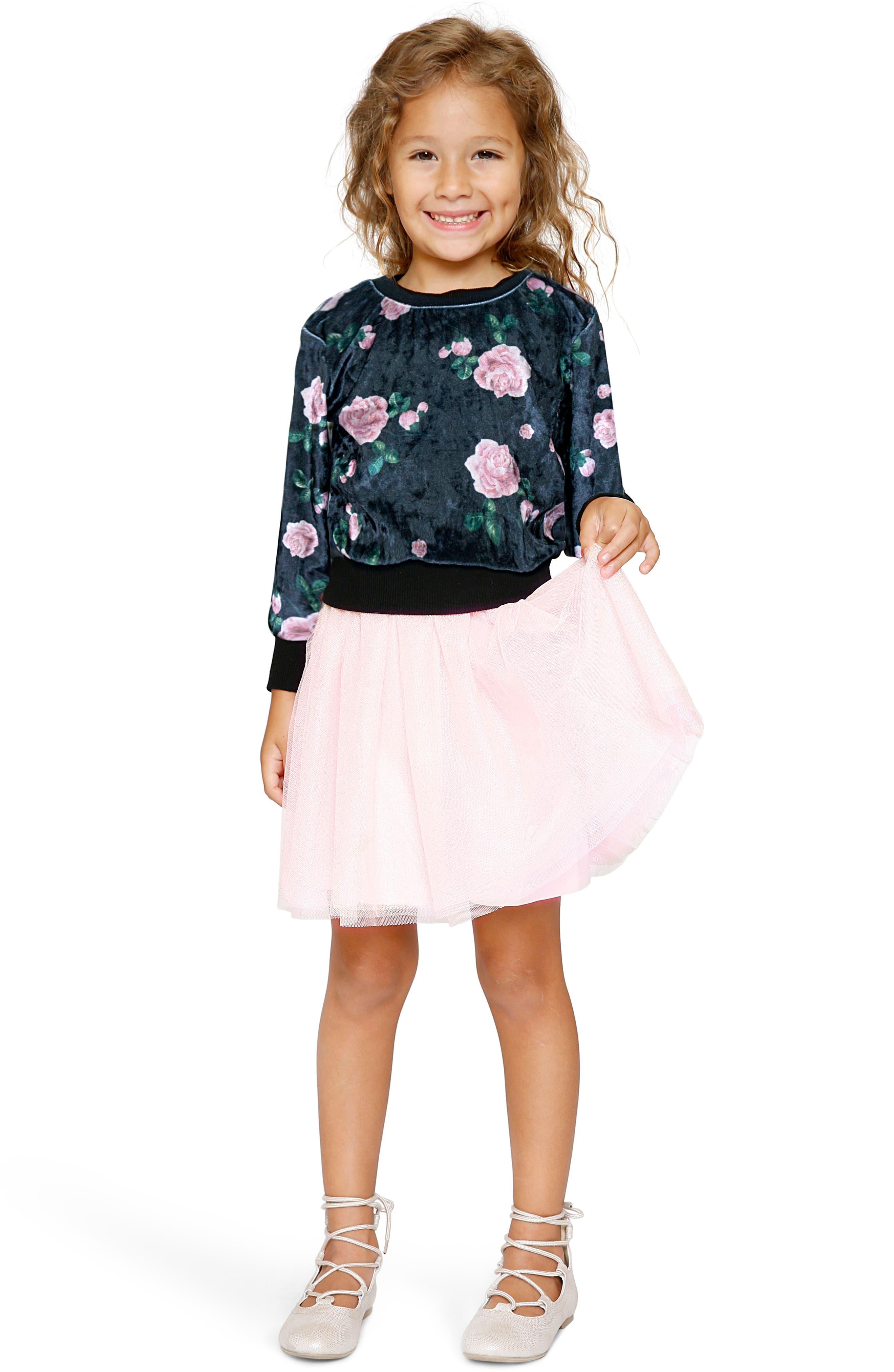 Tutu Dress & Sweater Set,                             Alternate thumbnail 5, color,                             Black Multi