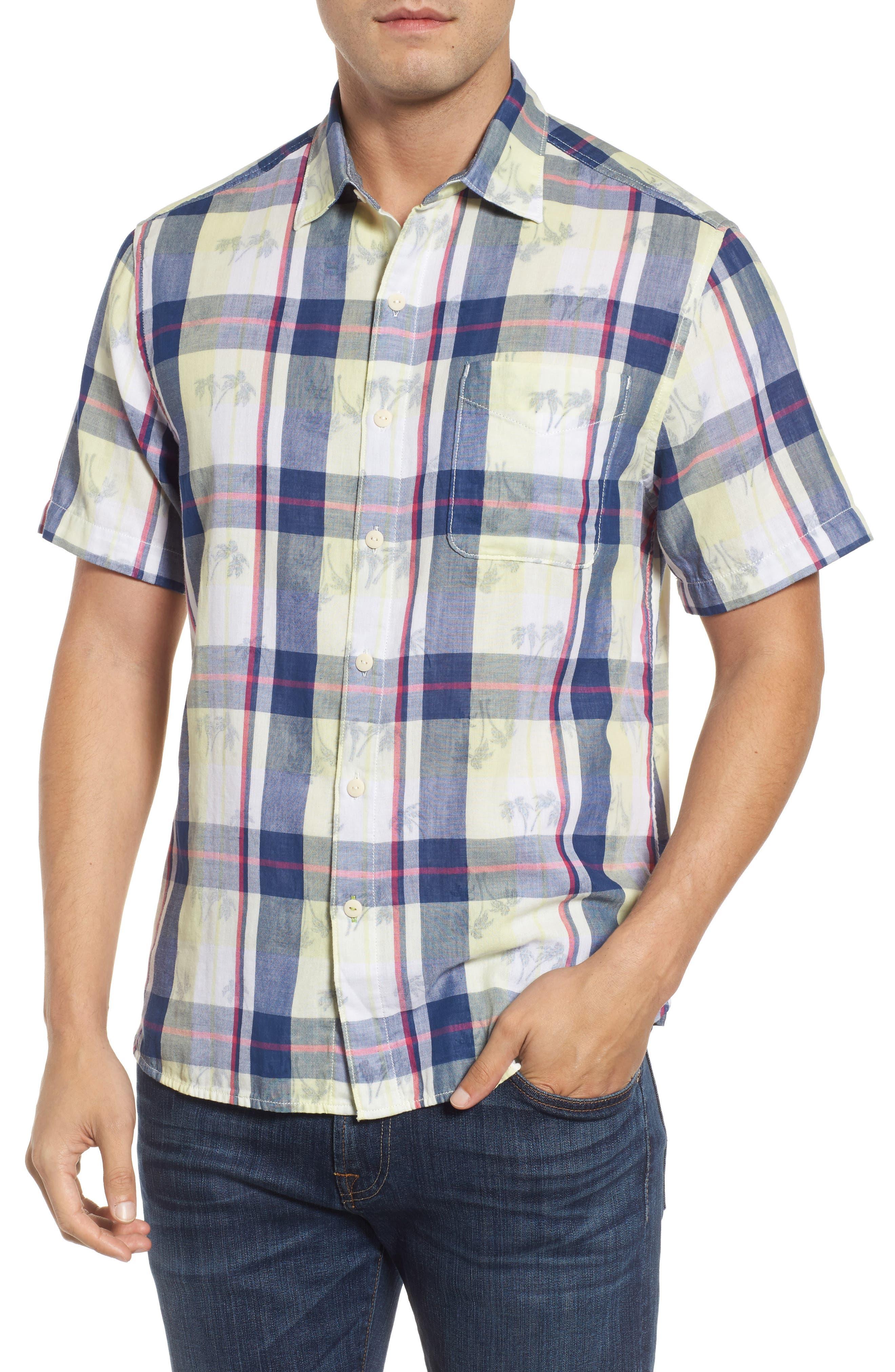 Double Flora Plaid Cotton Camp Shirt,                         Main,                         color, Kingdom Blue