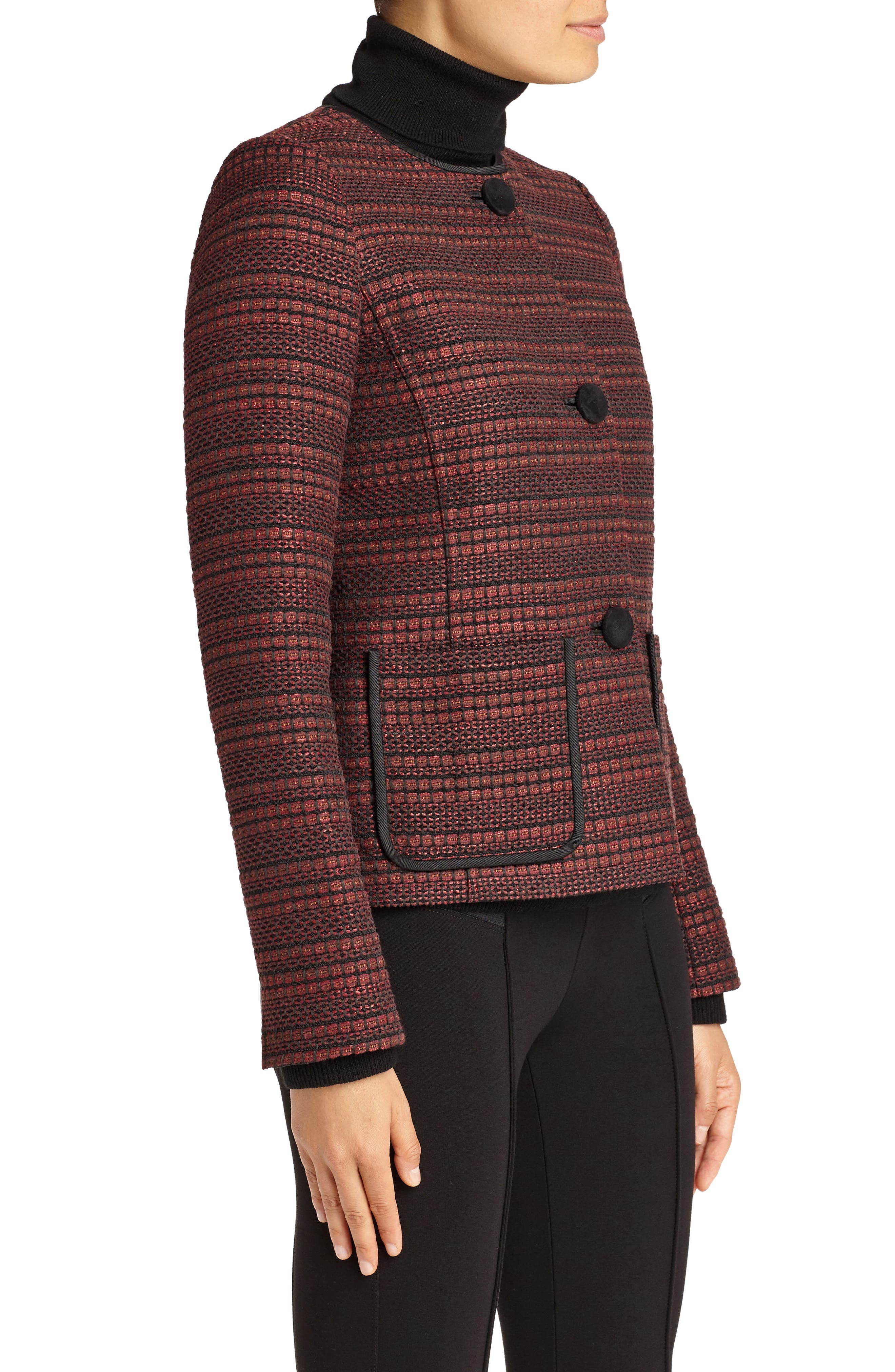 Laurence Venetian Tweed Jacket,                             Alternate thumbnail 3, color,                             Shiraz Multi