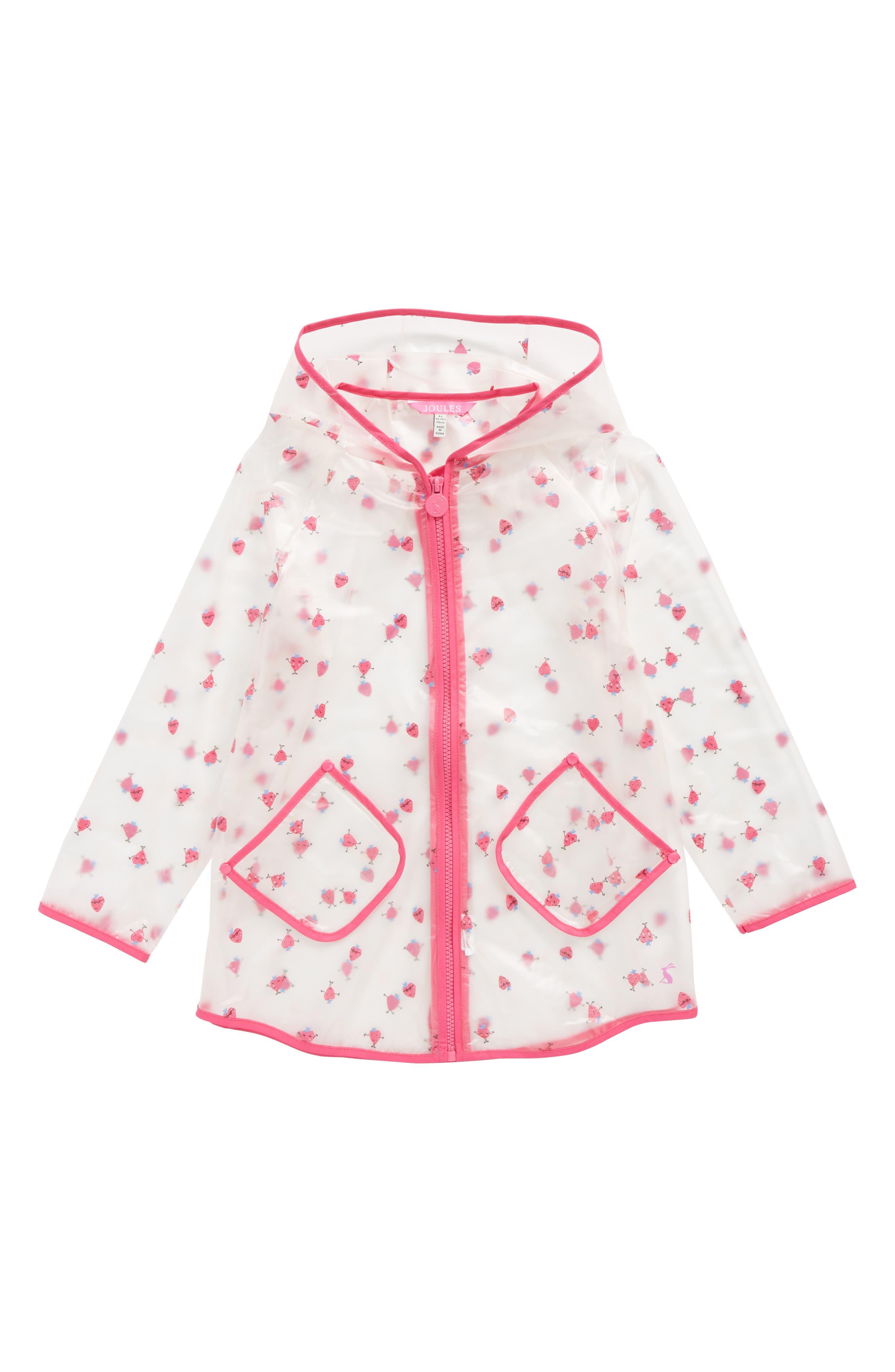 Print Sheer Rain Coat,                         Main,                         color, Strawberry Spot
