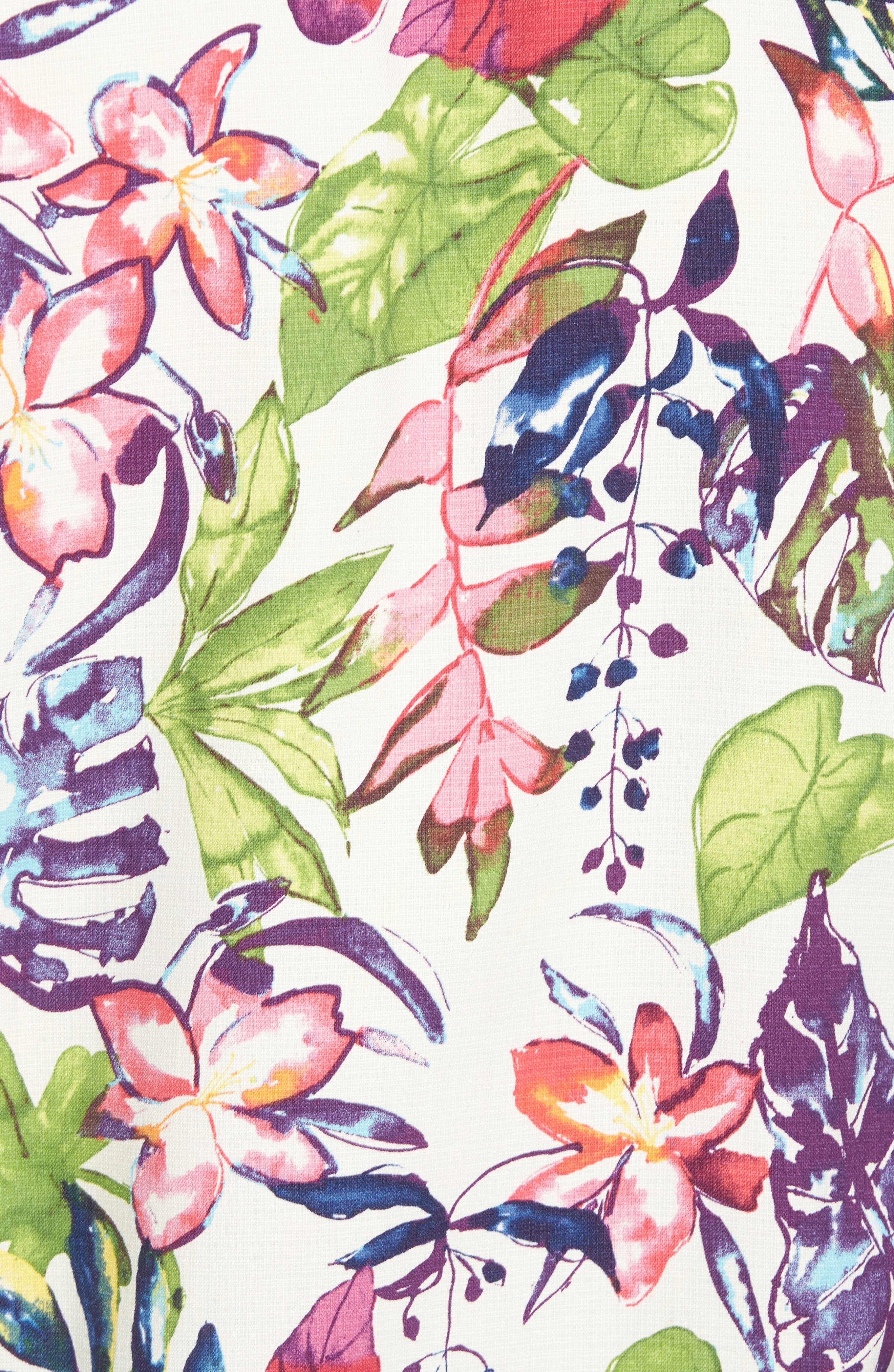 Riviera Garden Floral Silk Blend Camp Shirt,                             Alternate thumbnail 5, color,                             Cloud